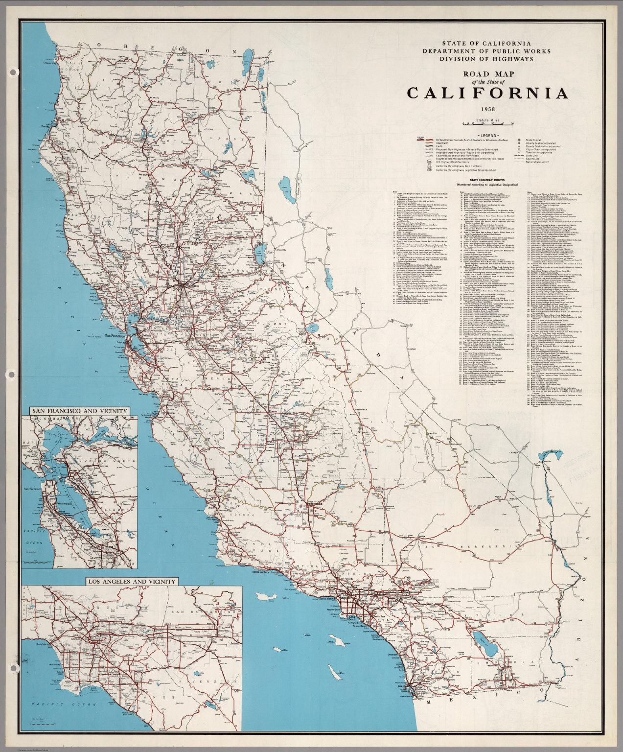 Road Map Of The State Of California, 1958. - David Rumsey Historical - California State Road Map