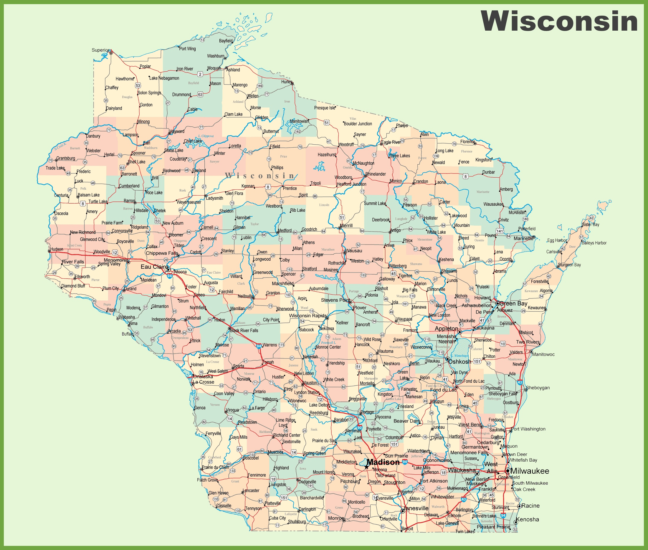 Road Map Of Wisconsin With Cities - Wisconsin Road Map Printable
