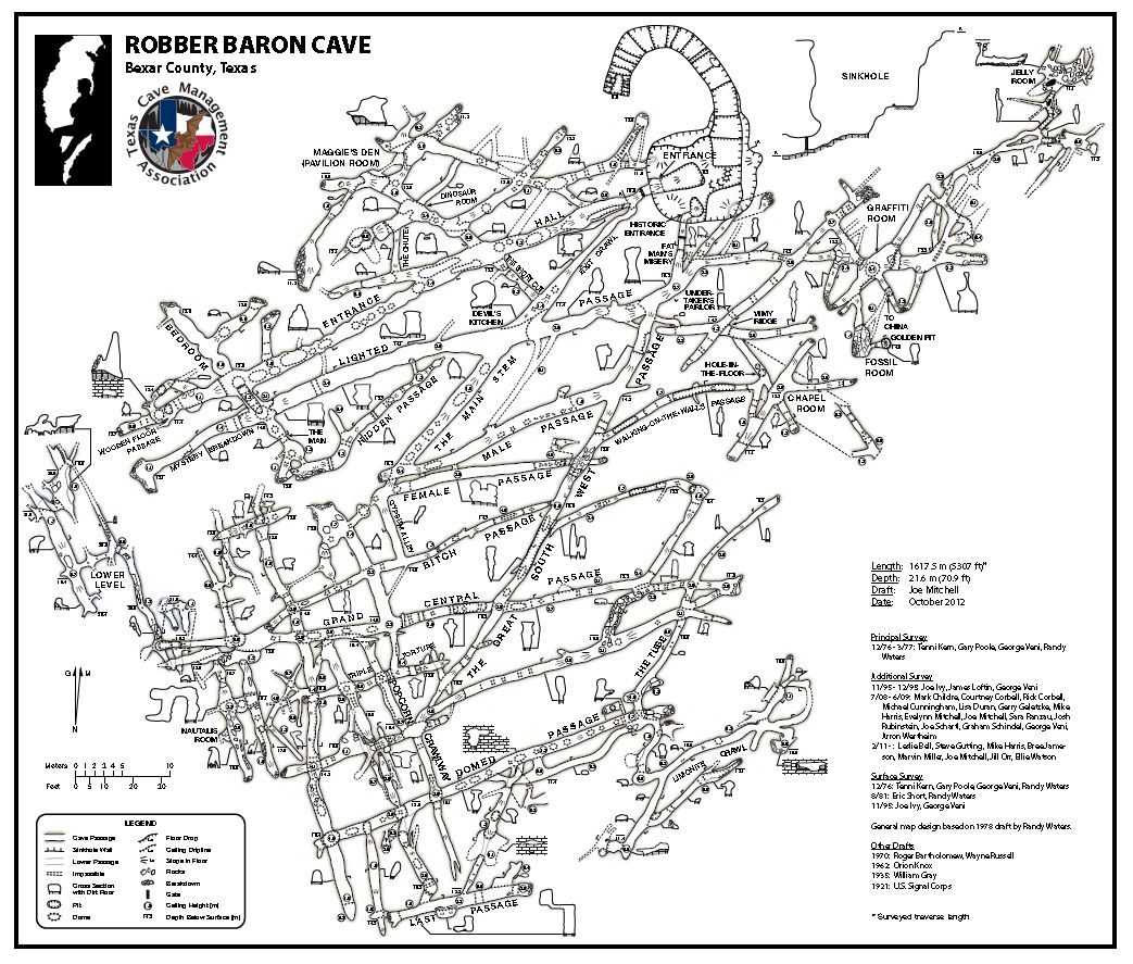 Robber Baron Cave Maps - Tcma - Caves In Texas Map