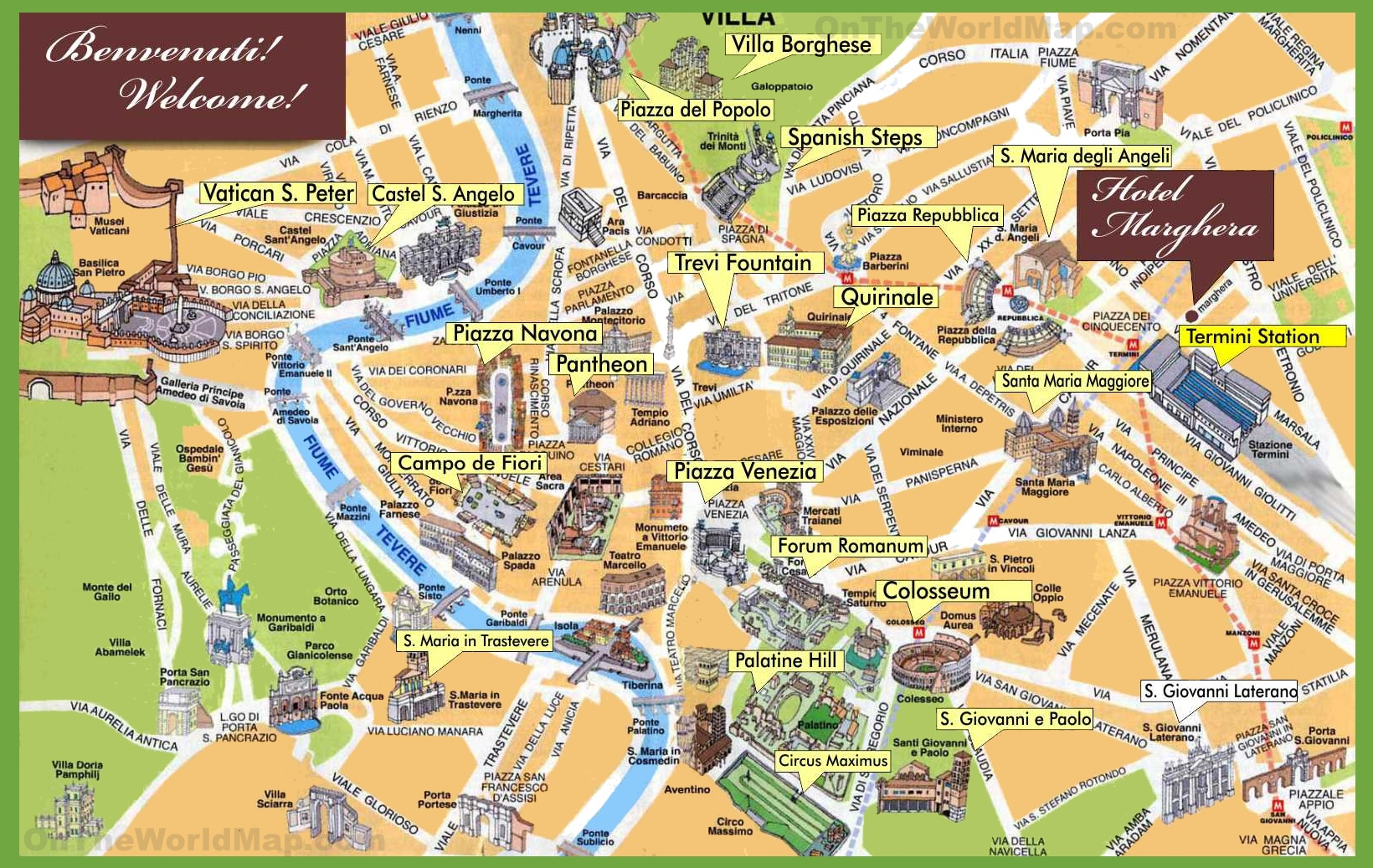Rome Maps | Italy | Maps Of Rome (Roma) - Map Of Rome Attractions Printable
