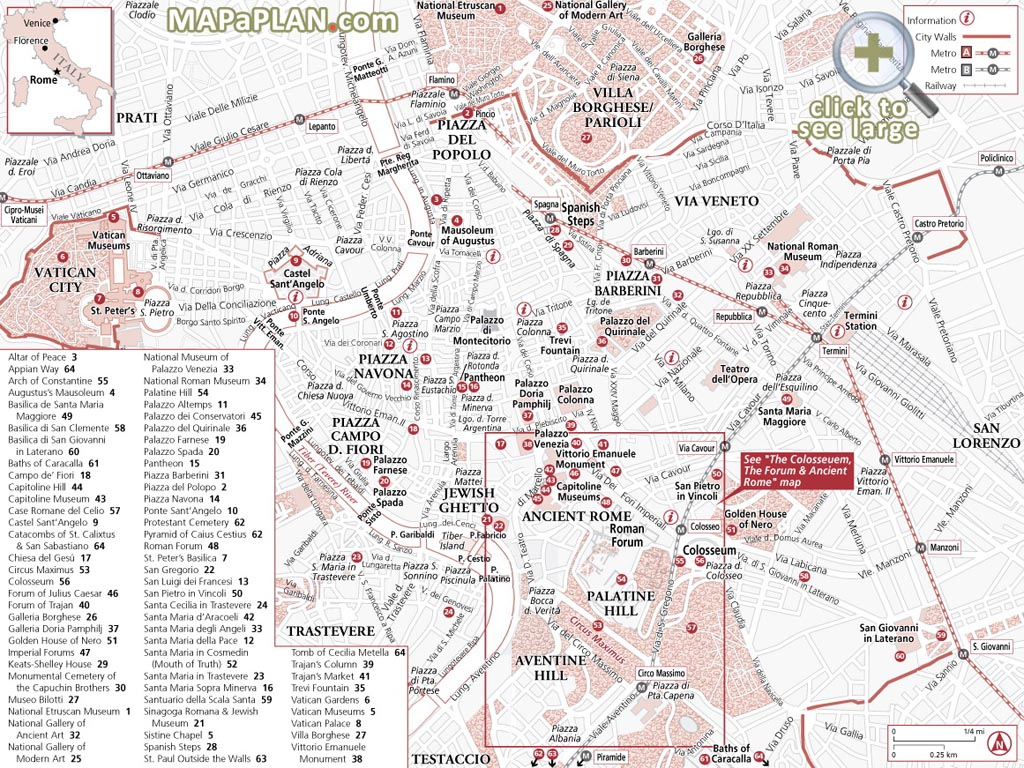 Rome Maps - Top Tourist Attractions - Free, Printable City Street Map - Map Of Rome Attractions Printable