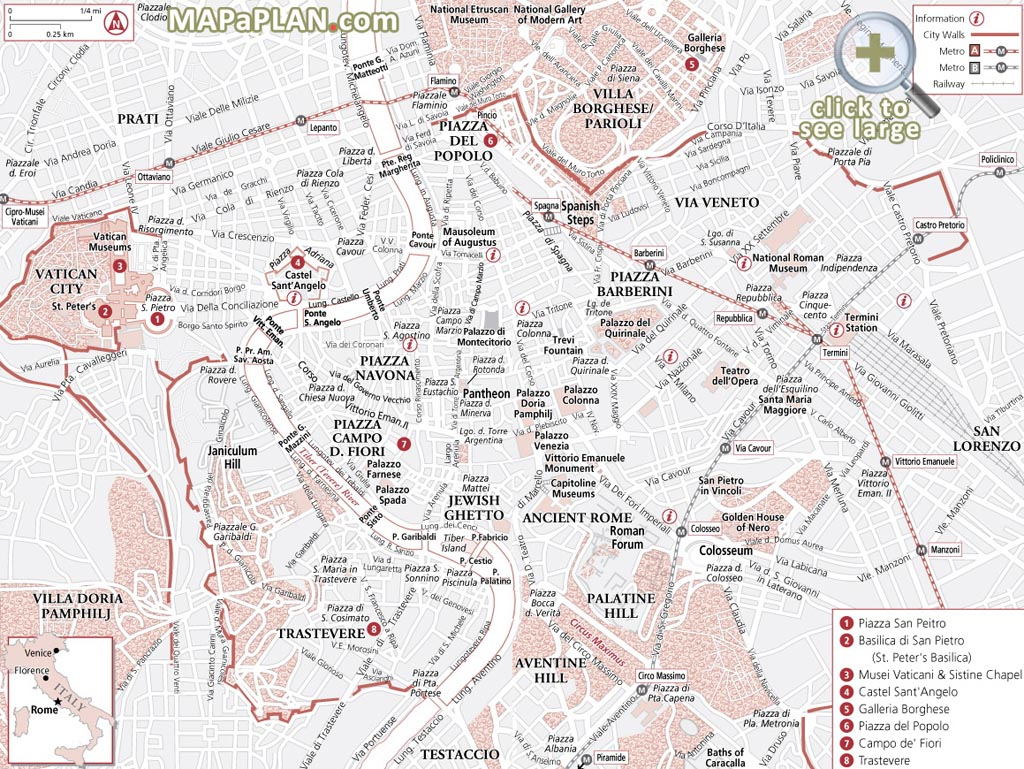 Rome Maps - Top Tourist Attractions - Free, Printable City Street Map - Rome Sightseeing Map Printable