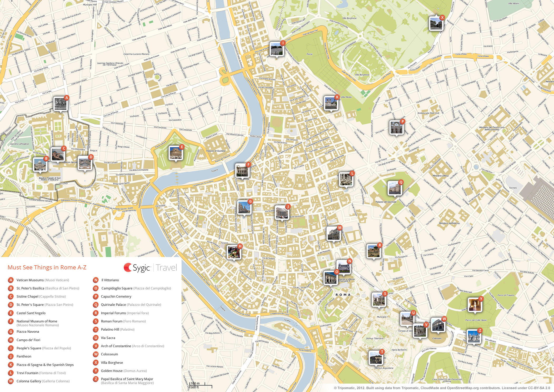 Rome Printable Tourist Map | Sygic Travel - Printable City Map Of Rome Italy