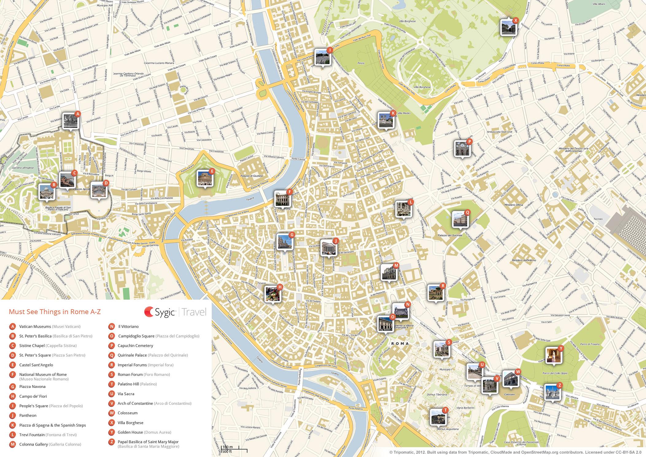 Rome Printable Tourist Map   Sygic Travel - Printable Map Of Rome