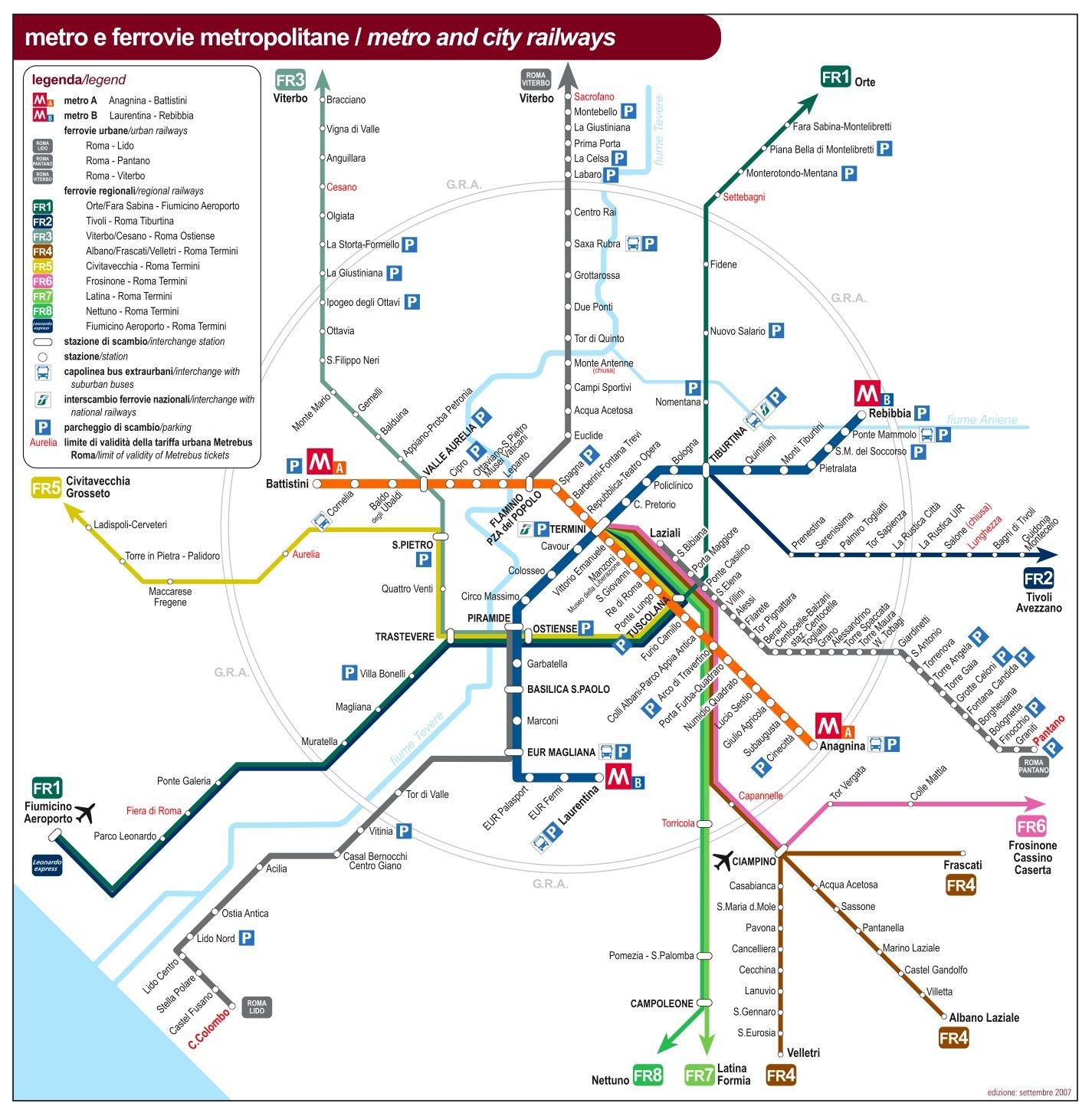Rome Public Transport Map | Transportation | Public Transport Map - Printable Rome Metro Map