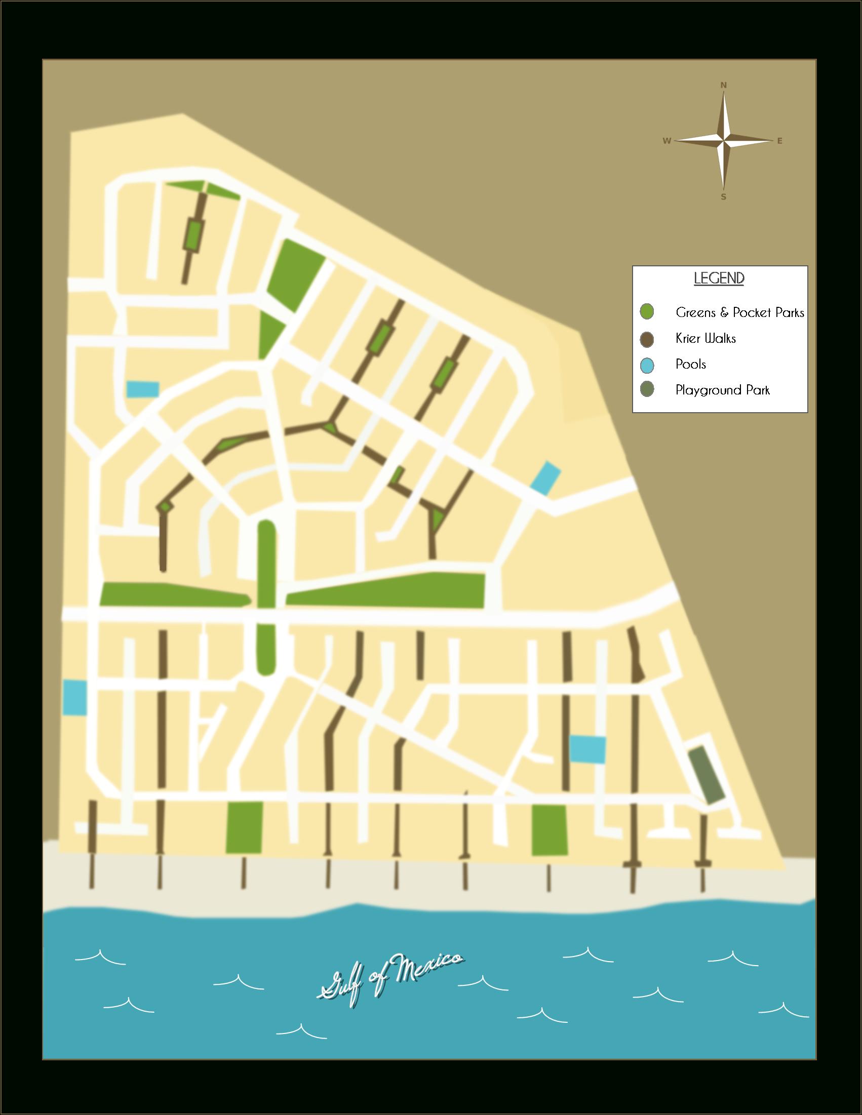 "Rosemary Beach Florida - Neighborhood Parks And ""Krier"" Walks - Inlet Beach Florida Map"
