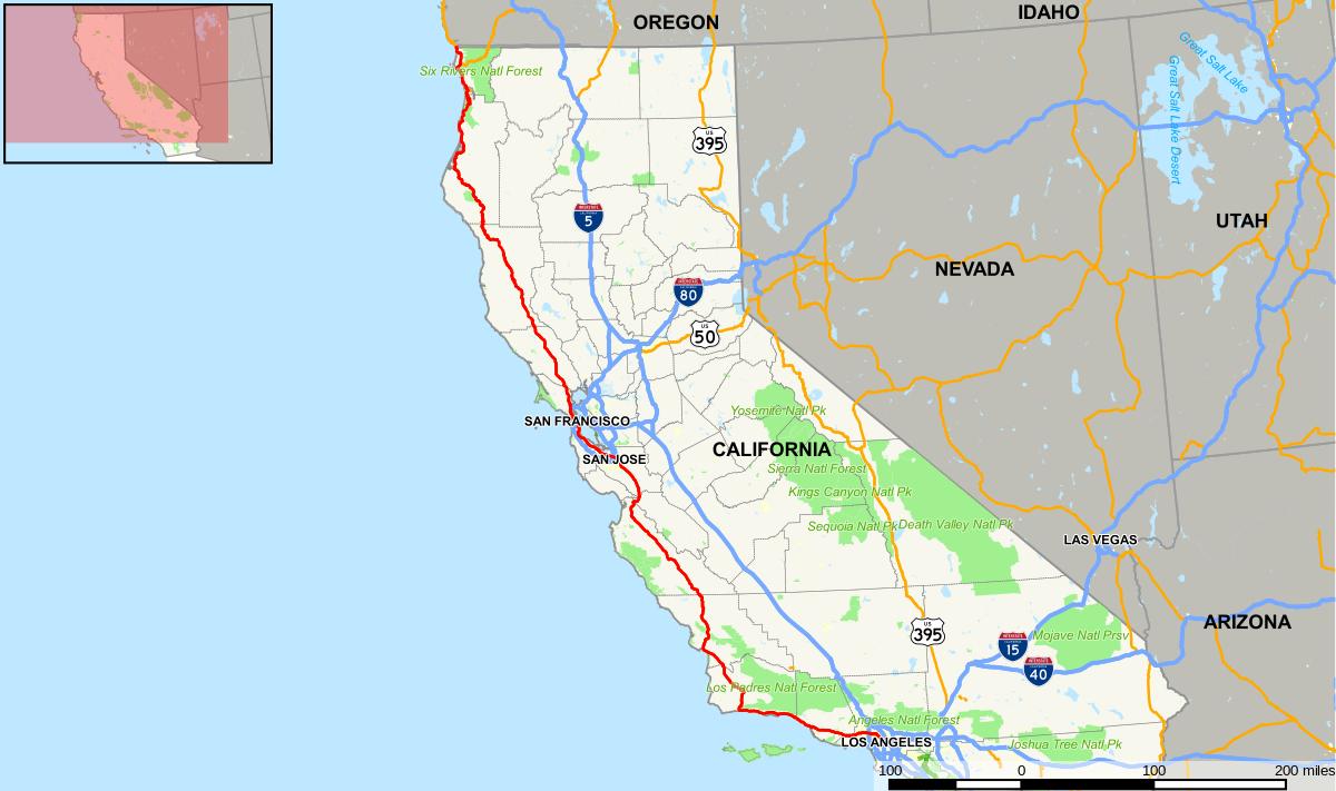 Route 1 California Road Trip Map - Klipy - Route 1 California Map