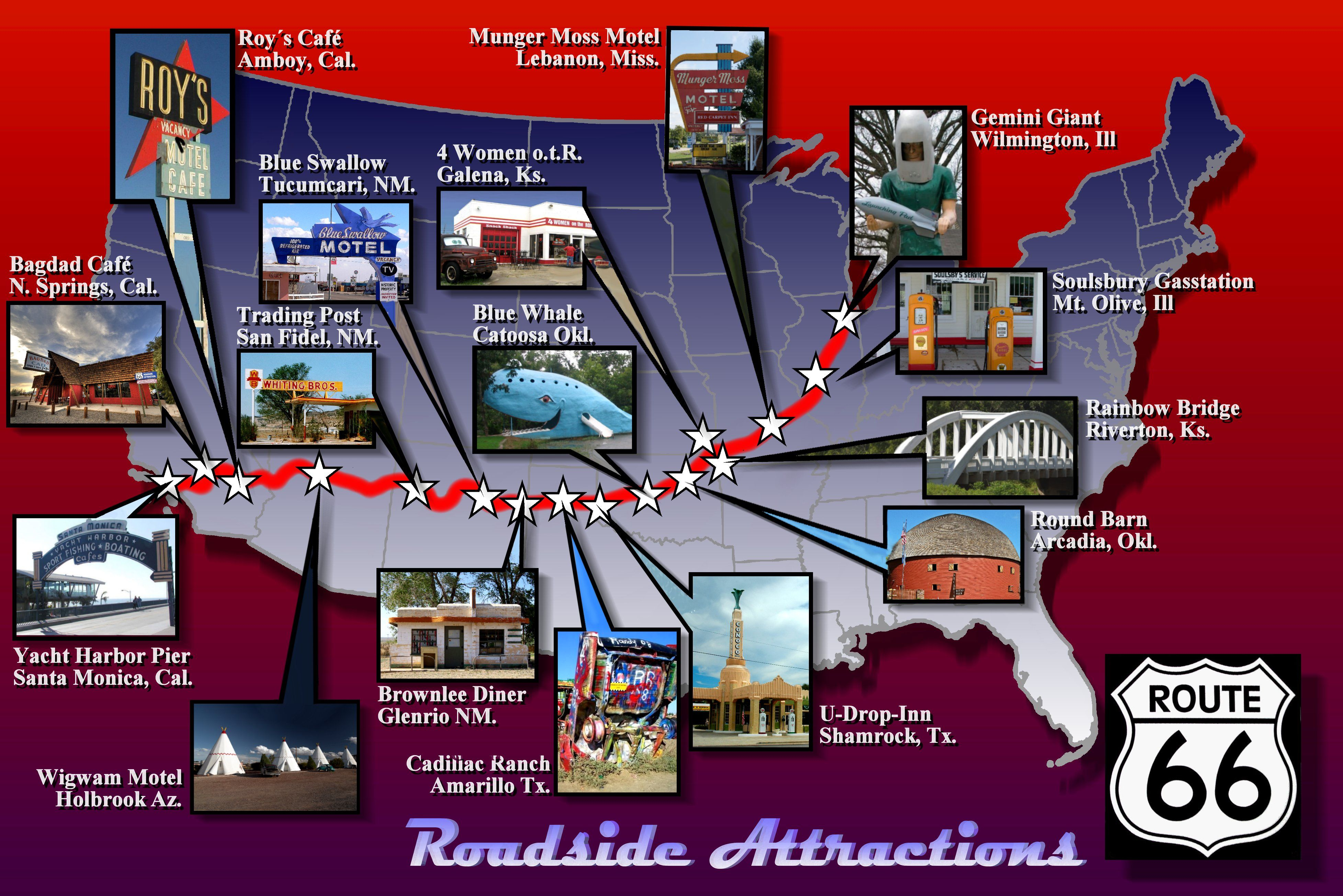 Route 66 Roadside Attractions | Route 66 | Route 66, Route 66 - Roadside Attractions Texas Map