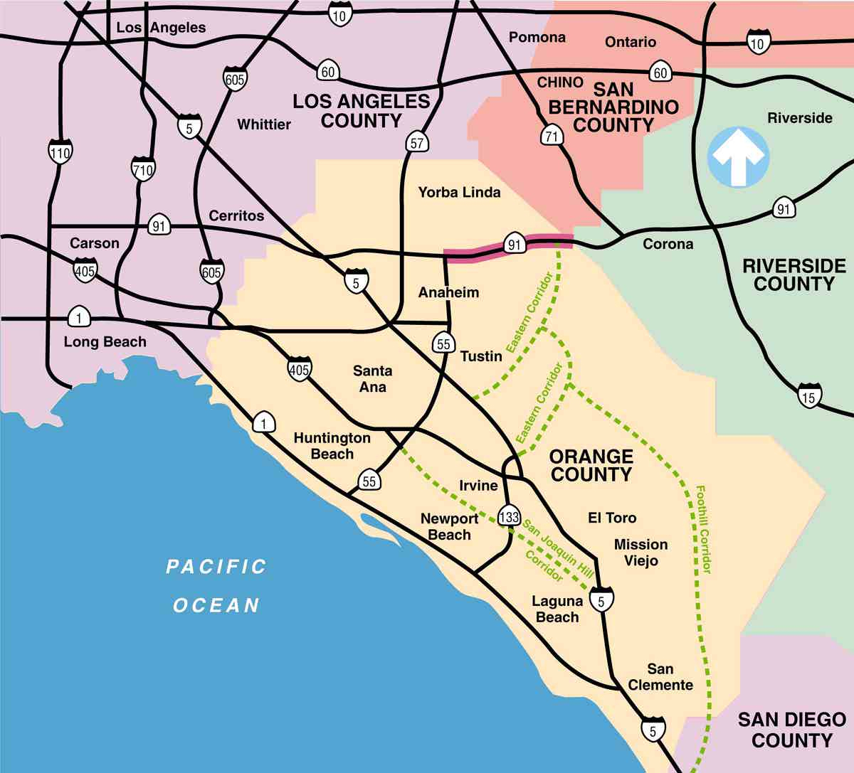 Route 91 - California Map With County Lines