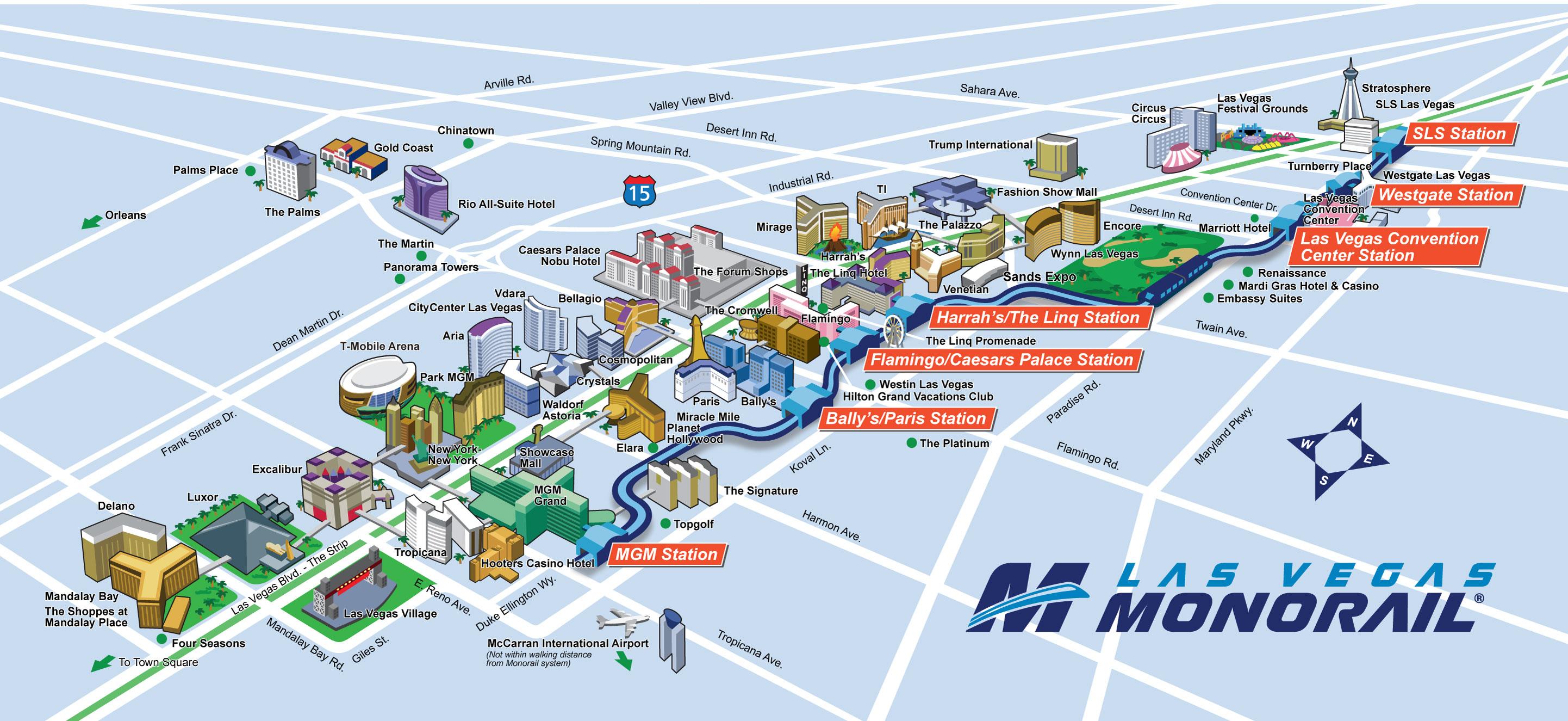 Route Map   Las Vegas Monorail - Printable Map Of Las Vegas Strip 2018