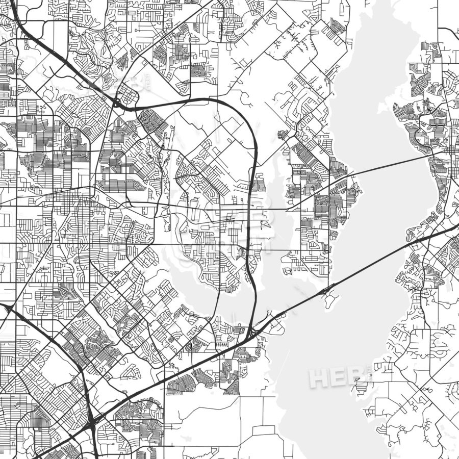 Rowlett, Texas - Area Map - Light | Hebstreits - Rowlett Texas Map