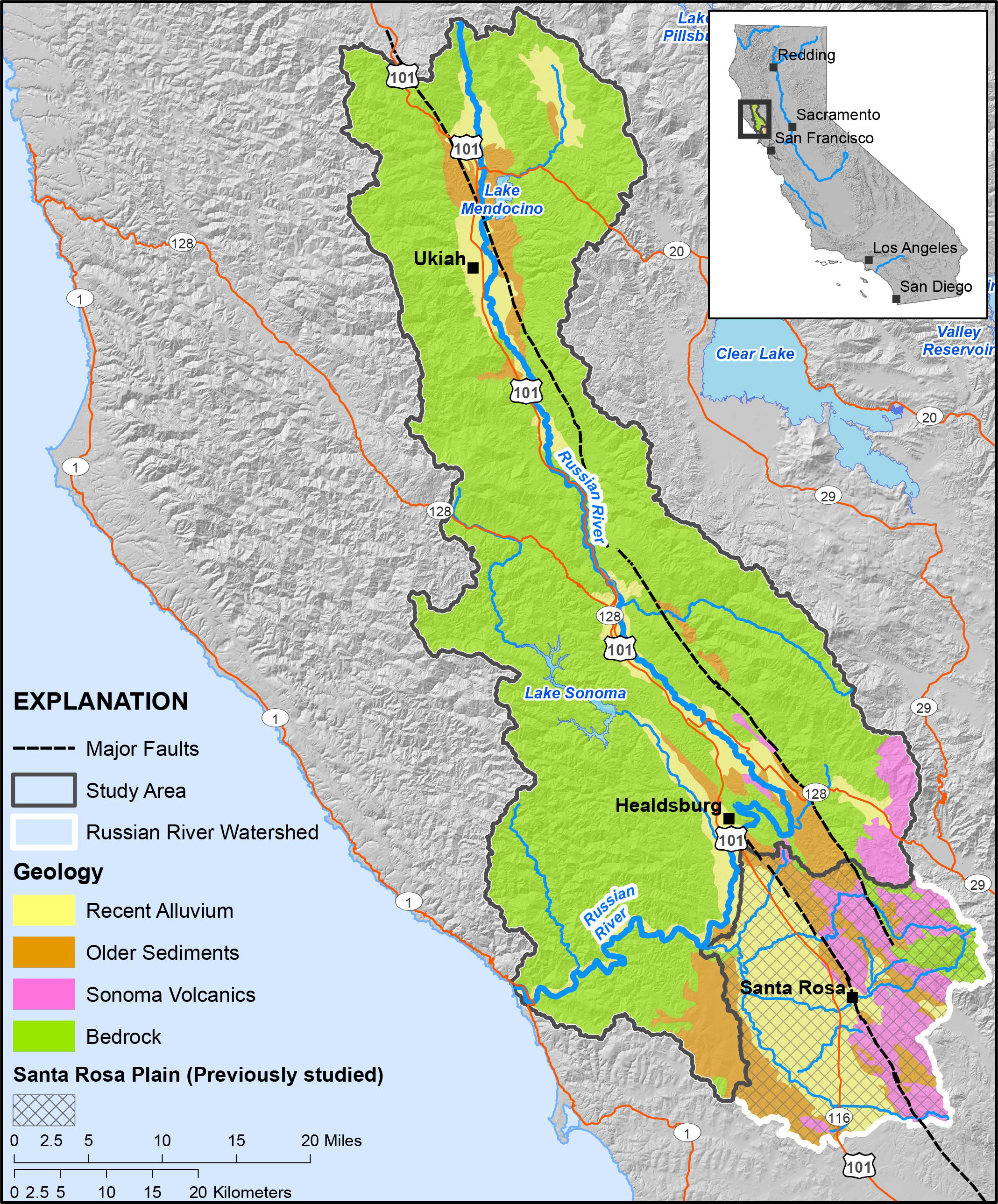 Russian River Hydrology | Usgs Ca Water Science - Russian River California Map
