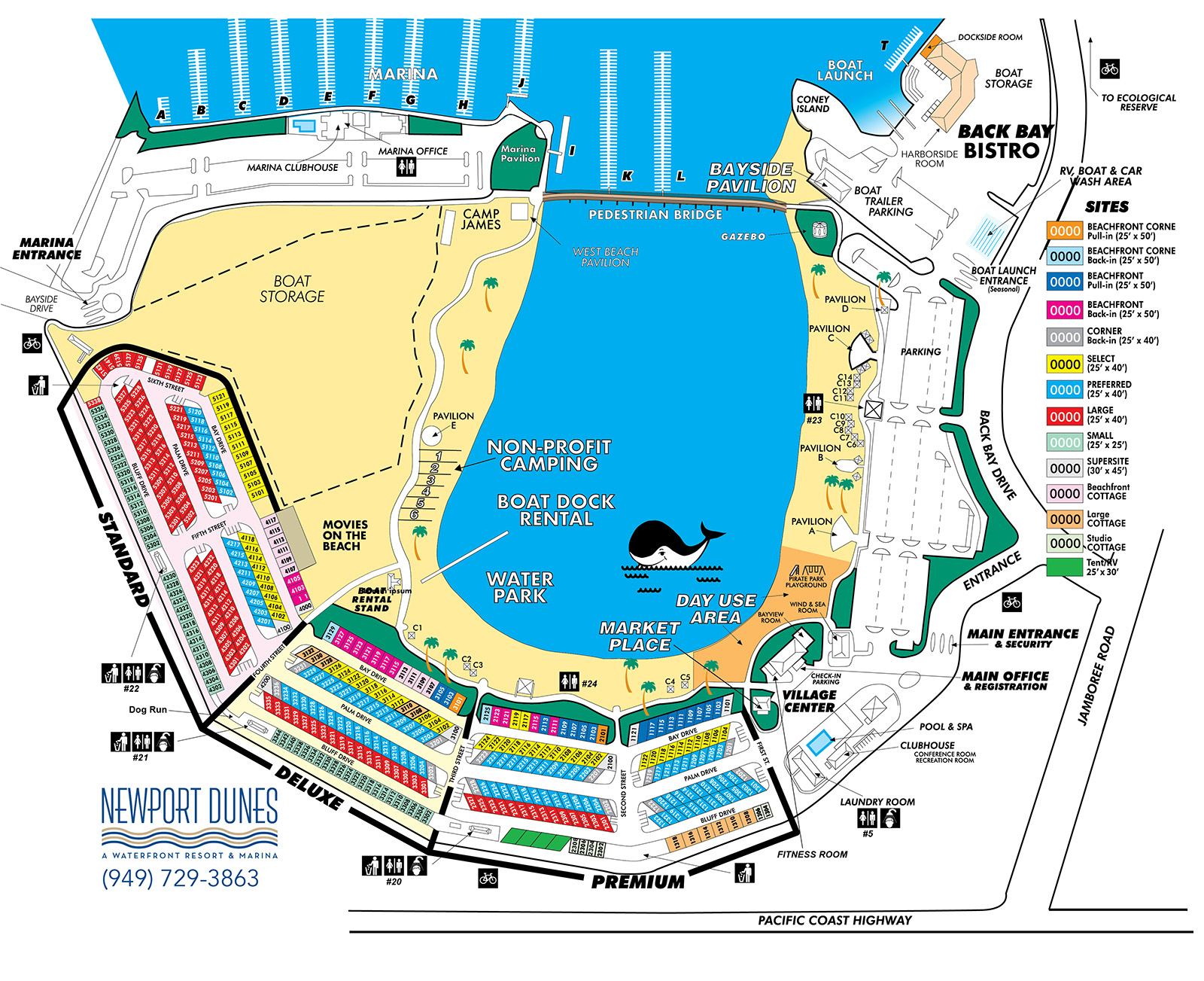 Rv Park In Orange County | Newport Dunes Waterfront Resort - California Rv Resorts Map