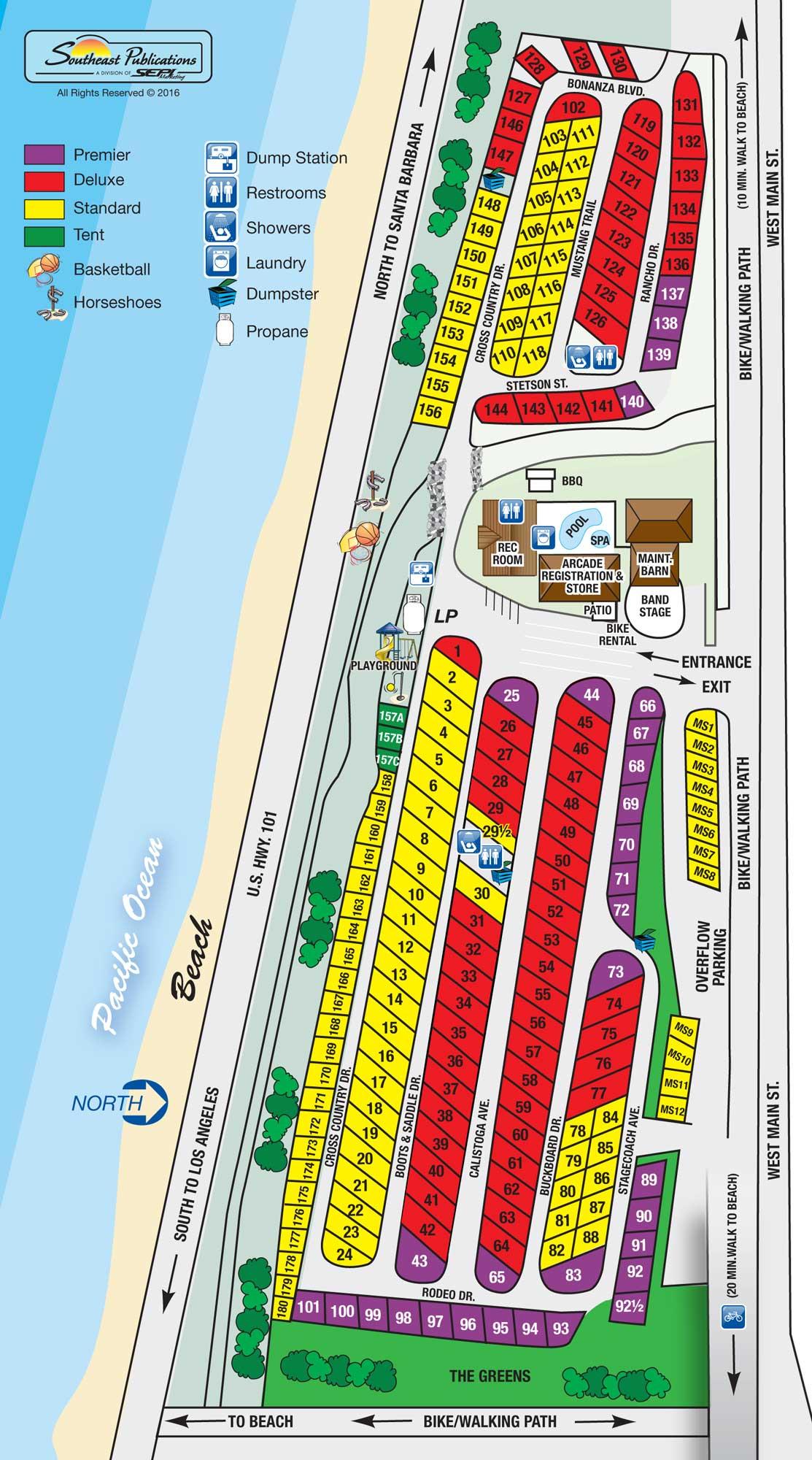 Rv Parks California Coast Map - Klipy - California Rv Resorts Map