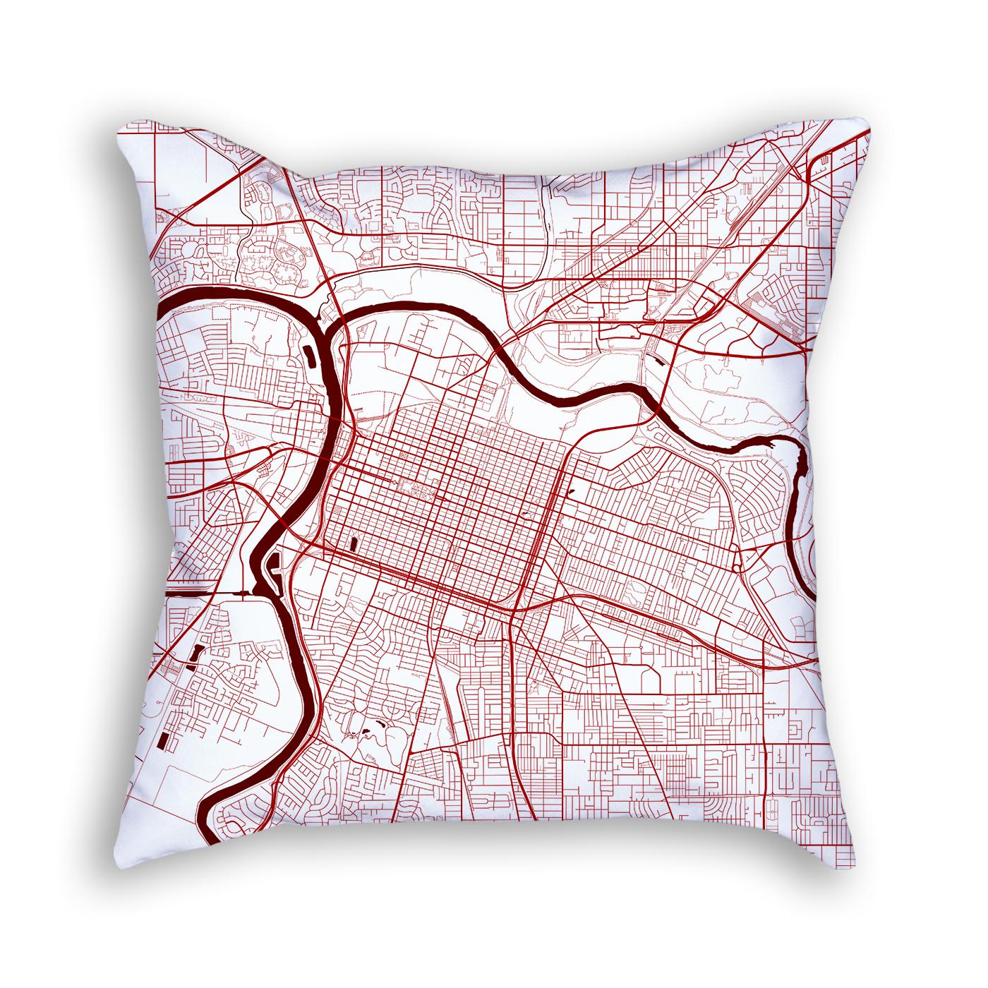 Sacramento California Throw Pillow – City Map Decor - California Map Pillow