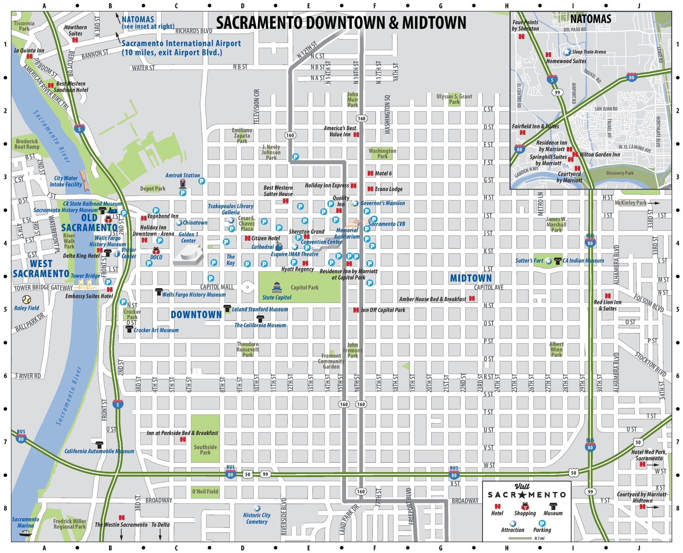 Sacramento Downtown Map - Map To Sacramento California
