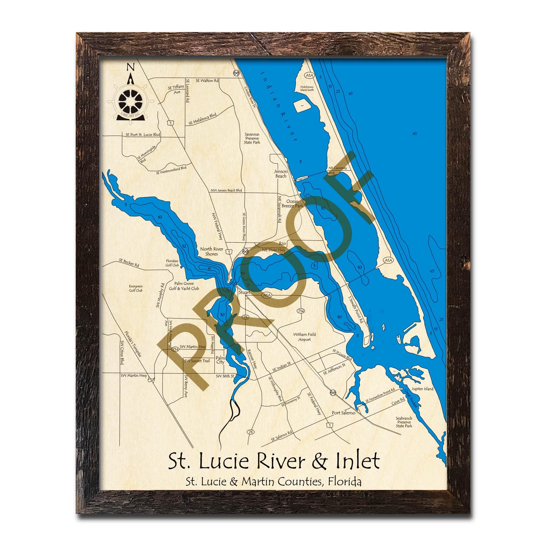 Saint Lucie River And Inlet, Fl Nautical Wood Maps - Citrus Cove Florida Map