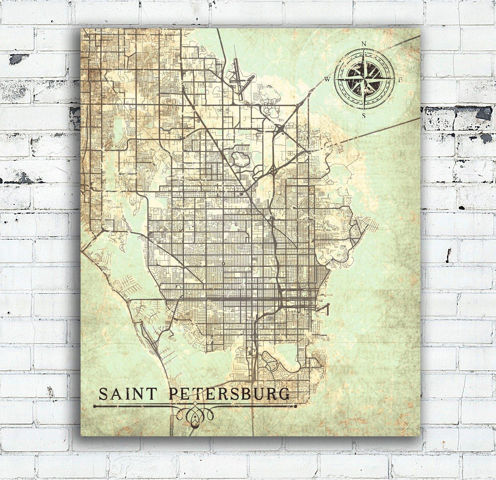 Saint Petersburg Canvas Print Florida Fl Vintage Map St | Etsy - Vintage Florida Map Poster