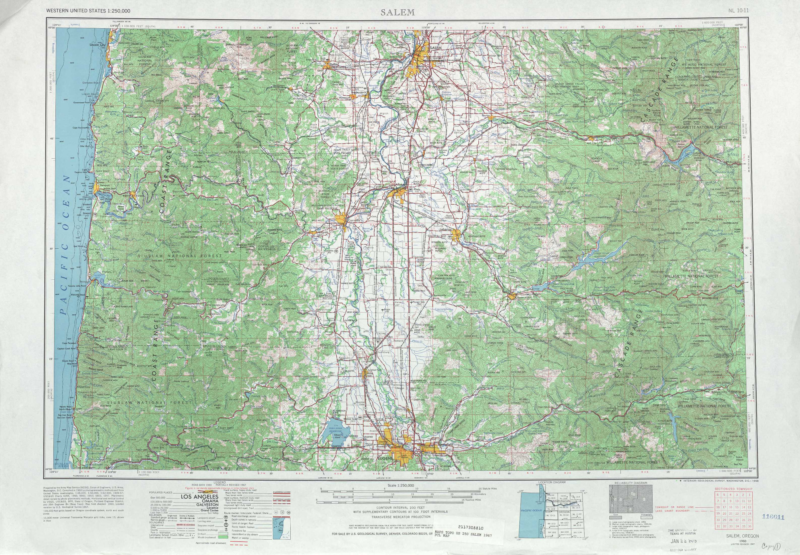 Salem Topographic Maps, Or - Usgs Topo Quad 44122A1 At 1:250,000 Scale - Usgs Printable Maps
