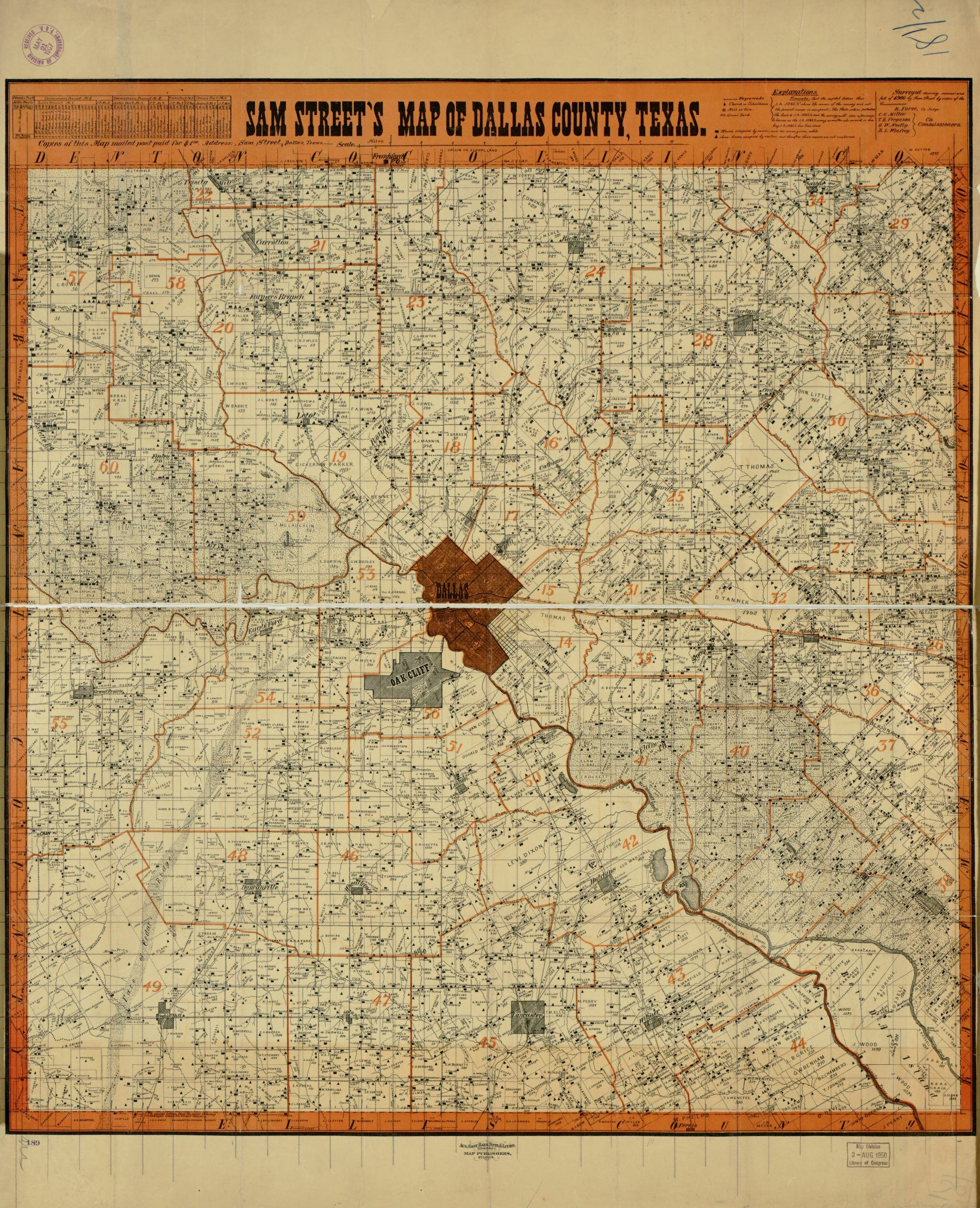 Sam Street's Map Of Dallas County, Texas. | Library Of Congress - Map Records Dallas County Texas