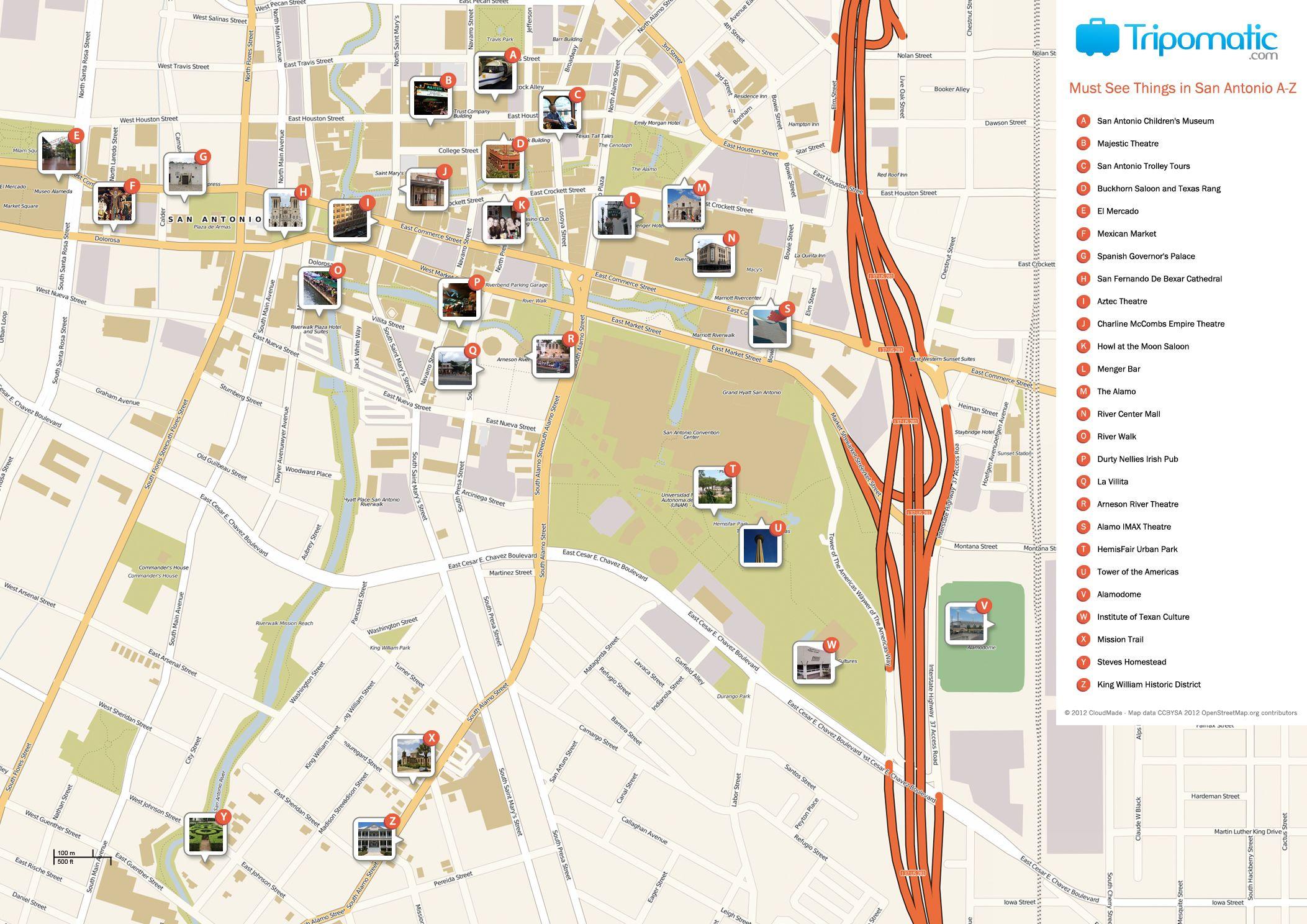 San Antonio Printable Tourist Map | Free Tourist Maps ✈ | Tourist - Roadside Attractions Texas Map