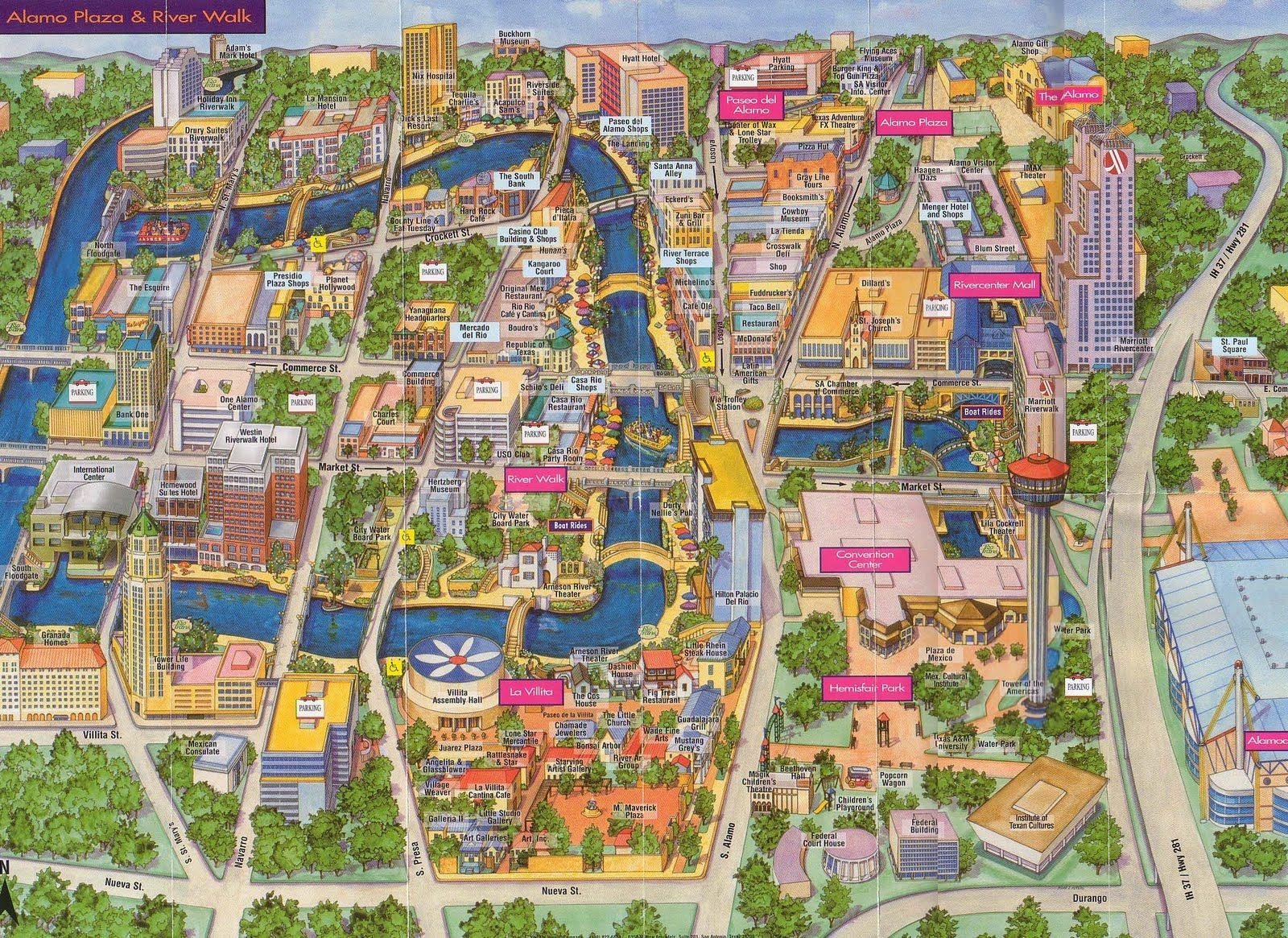 San Antonio River Walk Map | Around San Antonio | San Antonio River - Map Of Hotels Near Riverwalk In San Antonio Texas