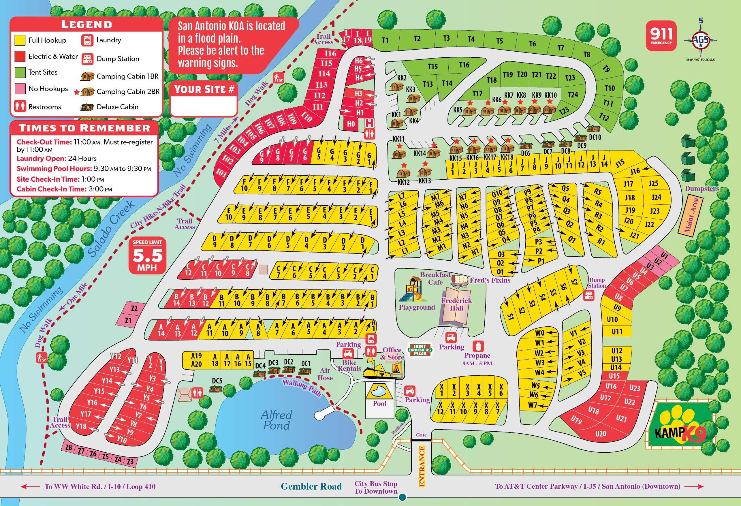 San Antonio, Texas Campground | San Antonio / Alamo Koa - Fiesta Texas Map