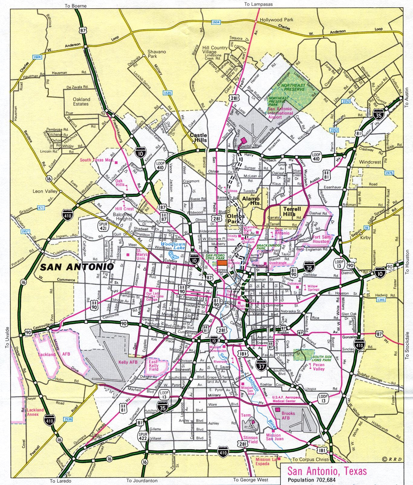 San Antonio Tx Carte - Carte De San Antonio, Texas (Texas - Usa) - Map Of San Antonio Texas Area