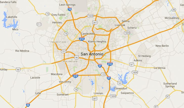 Map Of San Antonio Texas And Surrounding Area