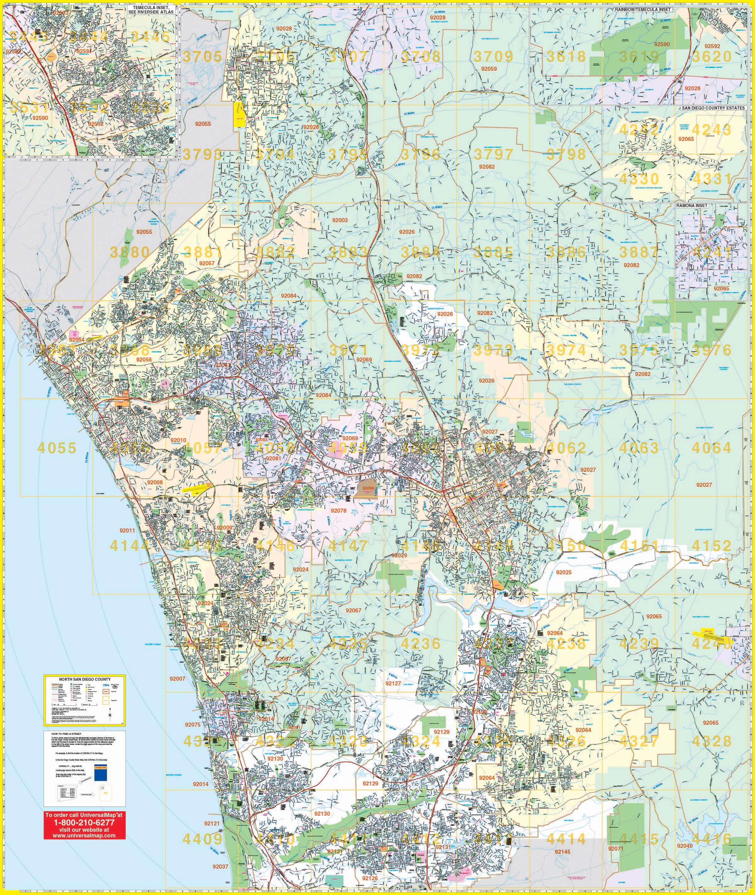 San Diego, Ca North Wall Map – Kappa Map Group - Laminated California Wall Map