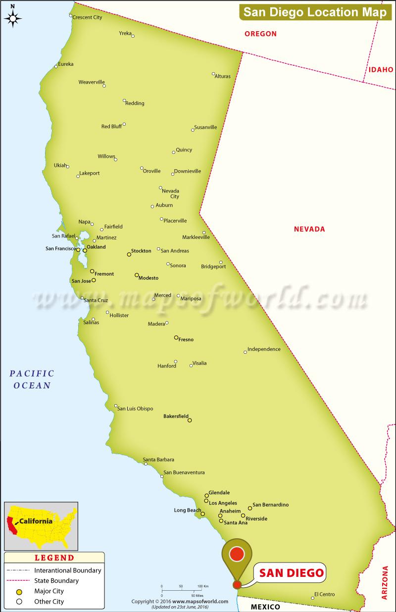 San Diego California On A Map - Klipy - San Diego On A Map Of California