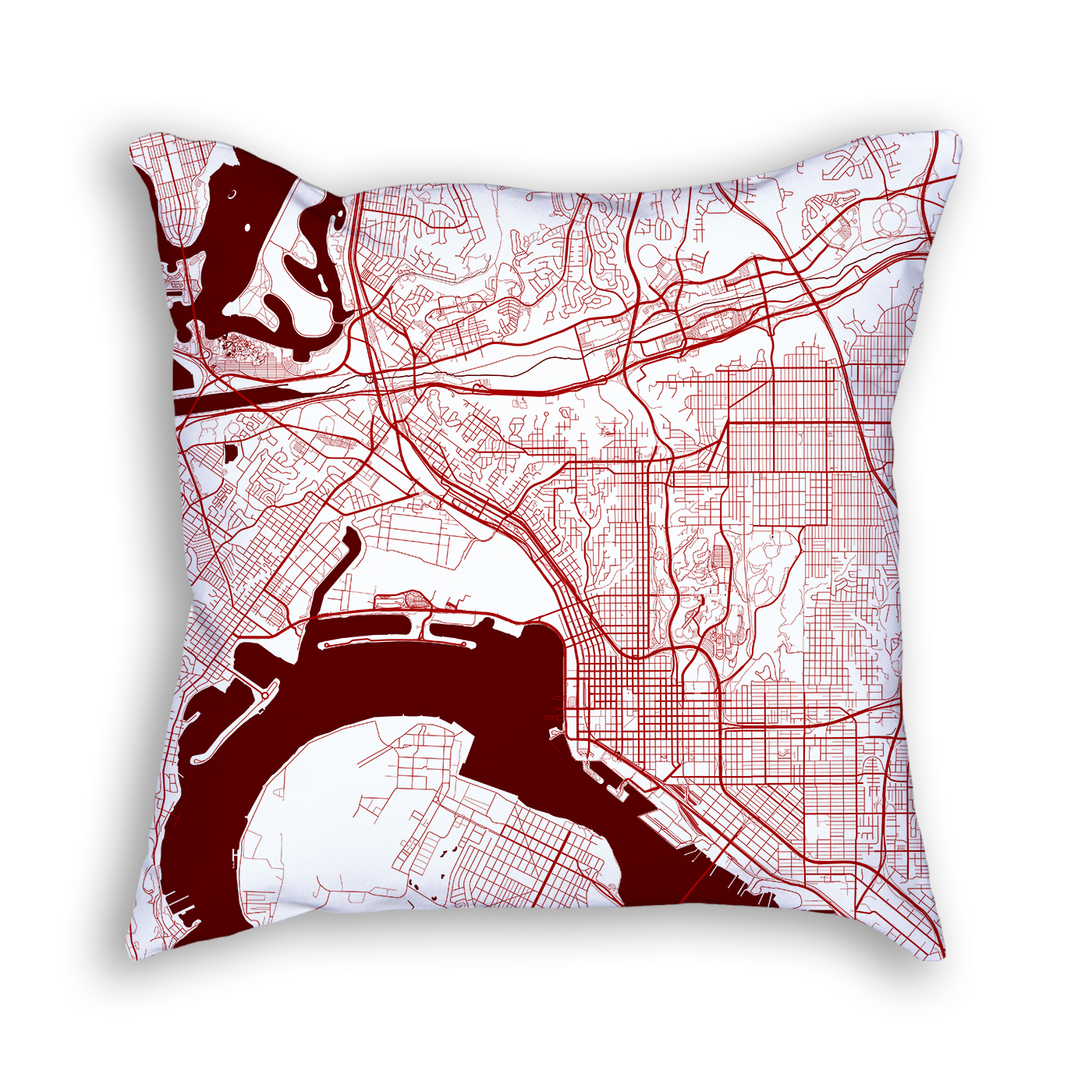 San Diego California Throw Pillow – City Map Decor - California Map Pillow