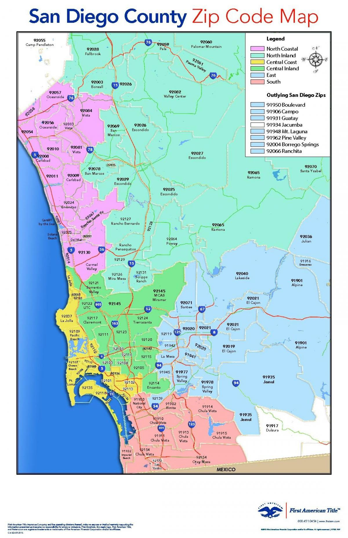 San Diego County Zip Code Map - San Diego County Map With Zip Codes - Free Printable Zip Code Maps