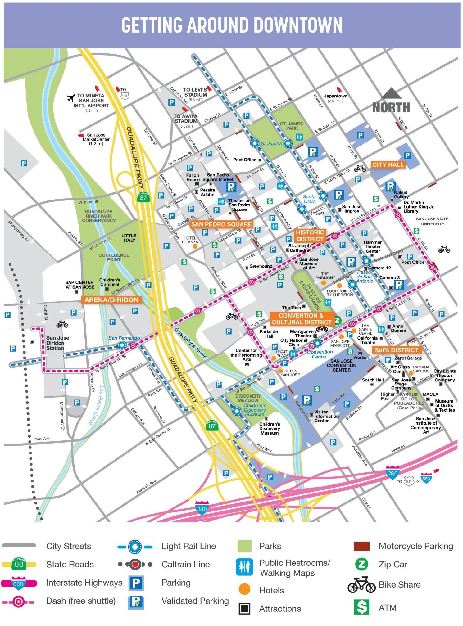San Diego Gang Map Printable Maps San Jose Downtown Map Map Of - Printable Map Of San Jose