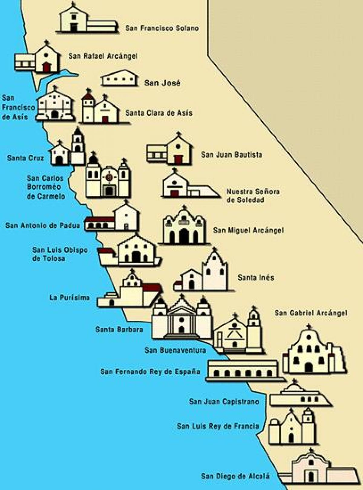 San Diego Missions Maps Of California California Mission Map Free - California Missions Map For Kids