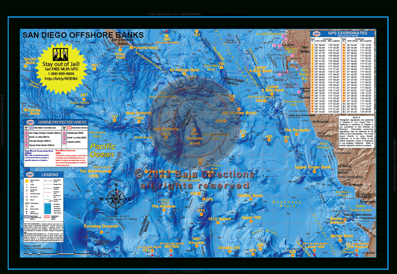 San Diego Offshore Banks - Baja Directions - California Fishing Map
