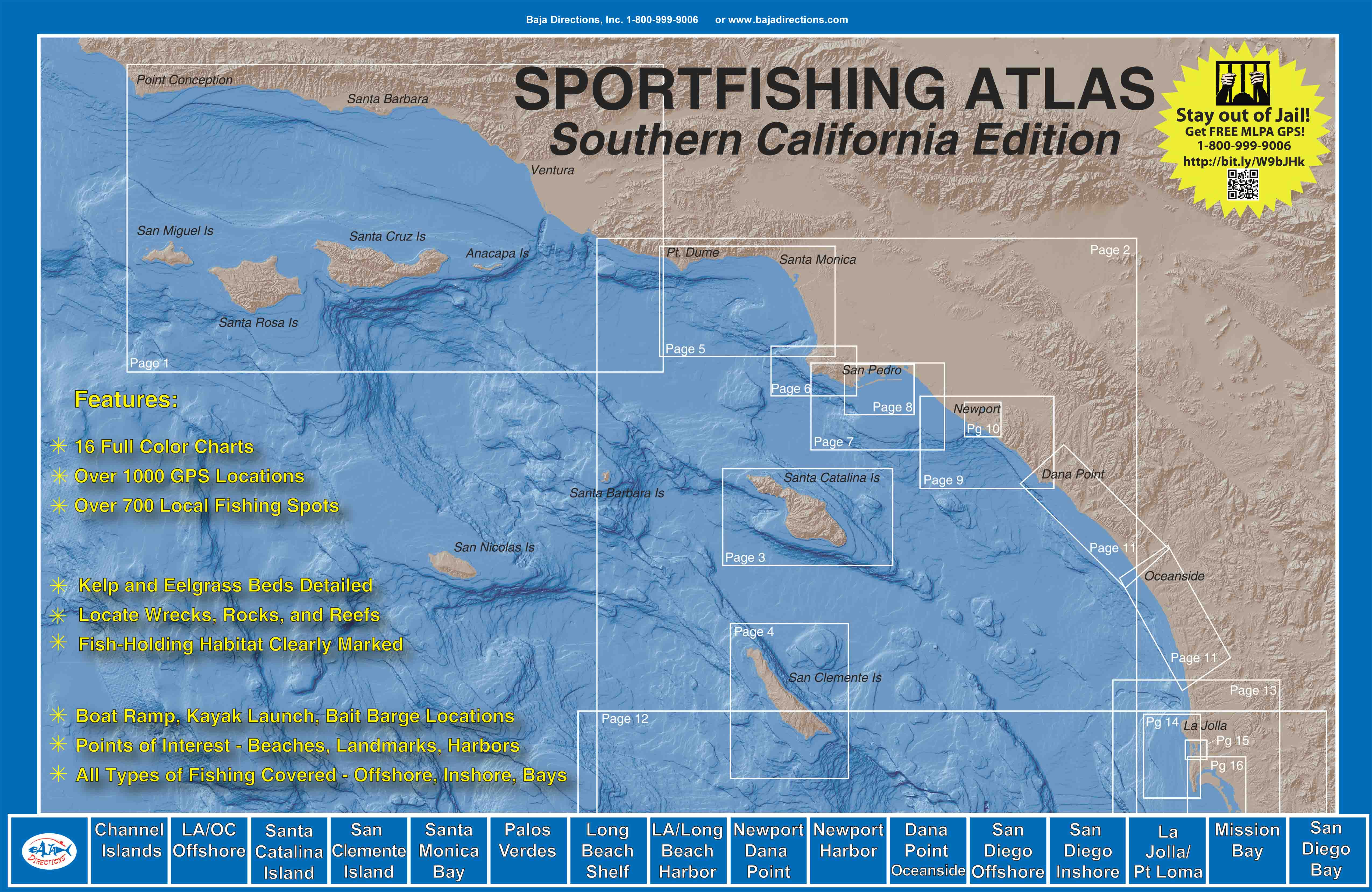 San Diego Offshore Banks - Baja Directions - California Ocean Fishing Map