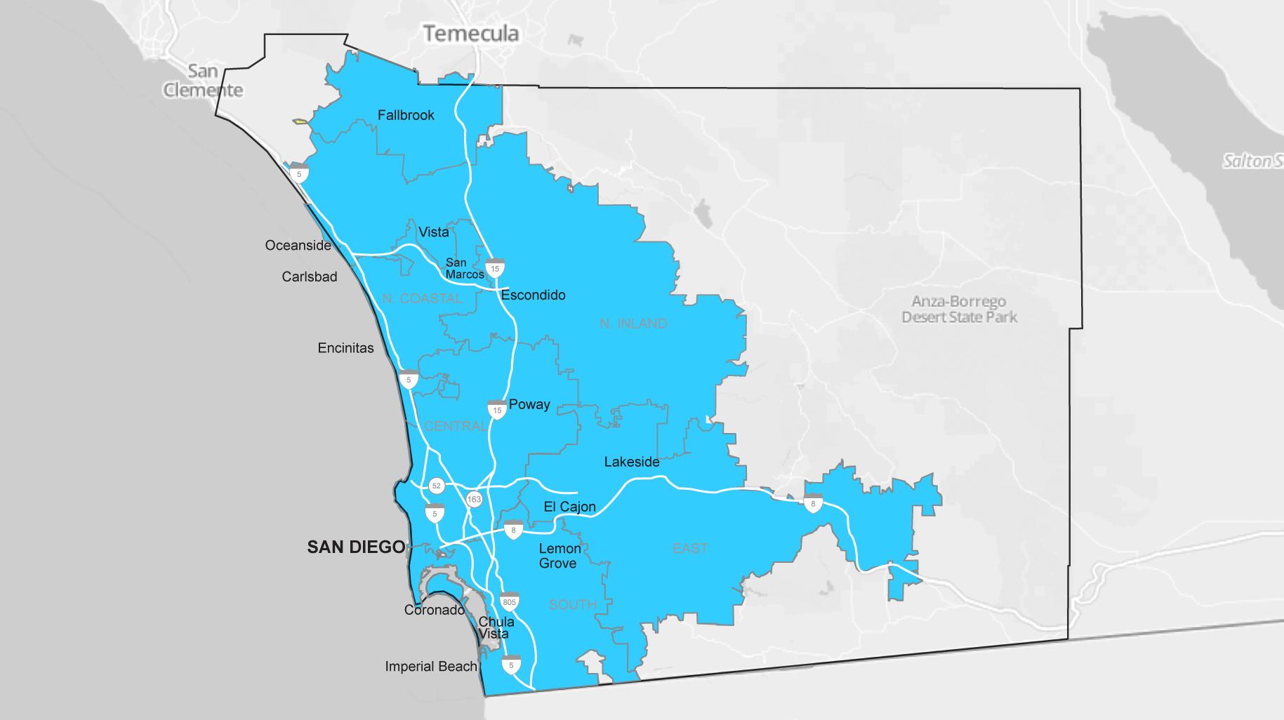 San Diego On A Map Of California - Klipy - Detailed Map Of San Diego California