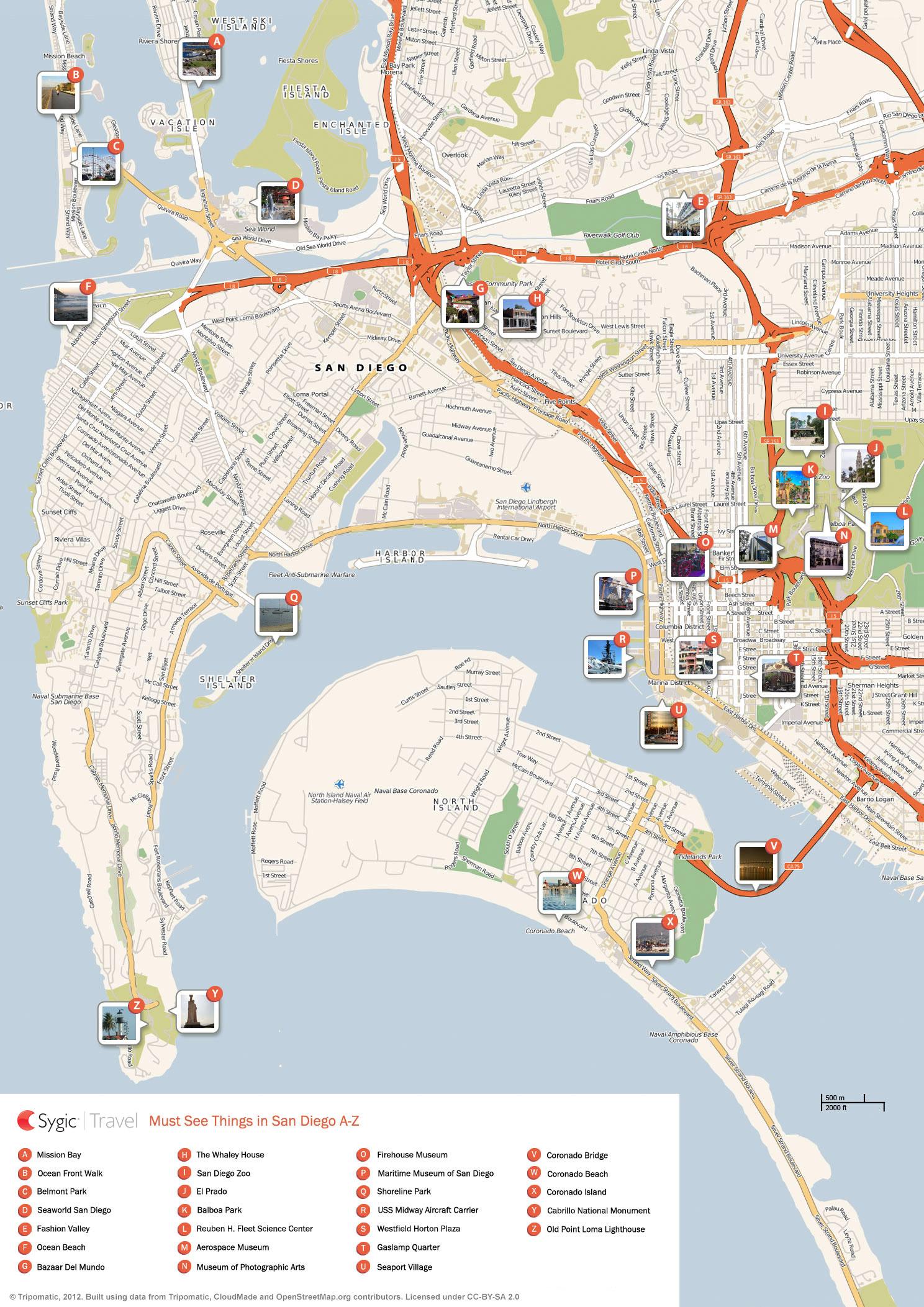 San Diego Printable Tourist Map | Sygic Travel - Printable Map Of Downtown San Diego