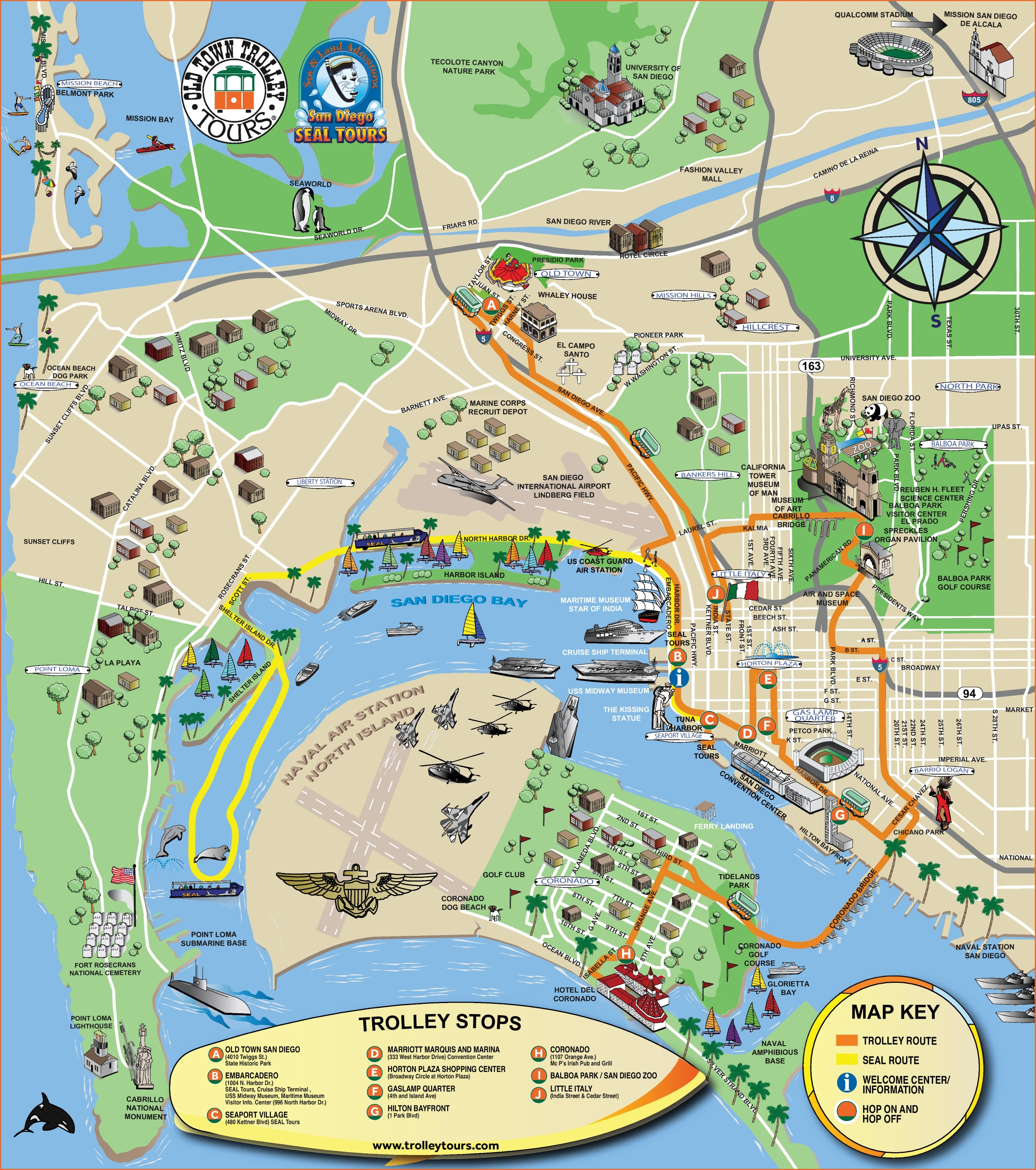 San Diego Tourist Attractions Map - San Diego Attractions Map Printable