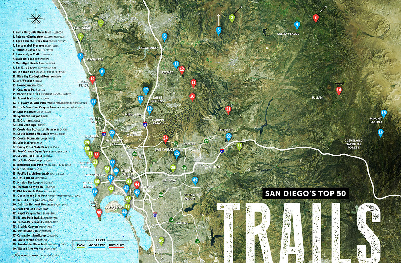 San Diego's Top 50 Trails - San Diego Magazine - April 2015 - San - California Hiking Map