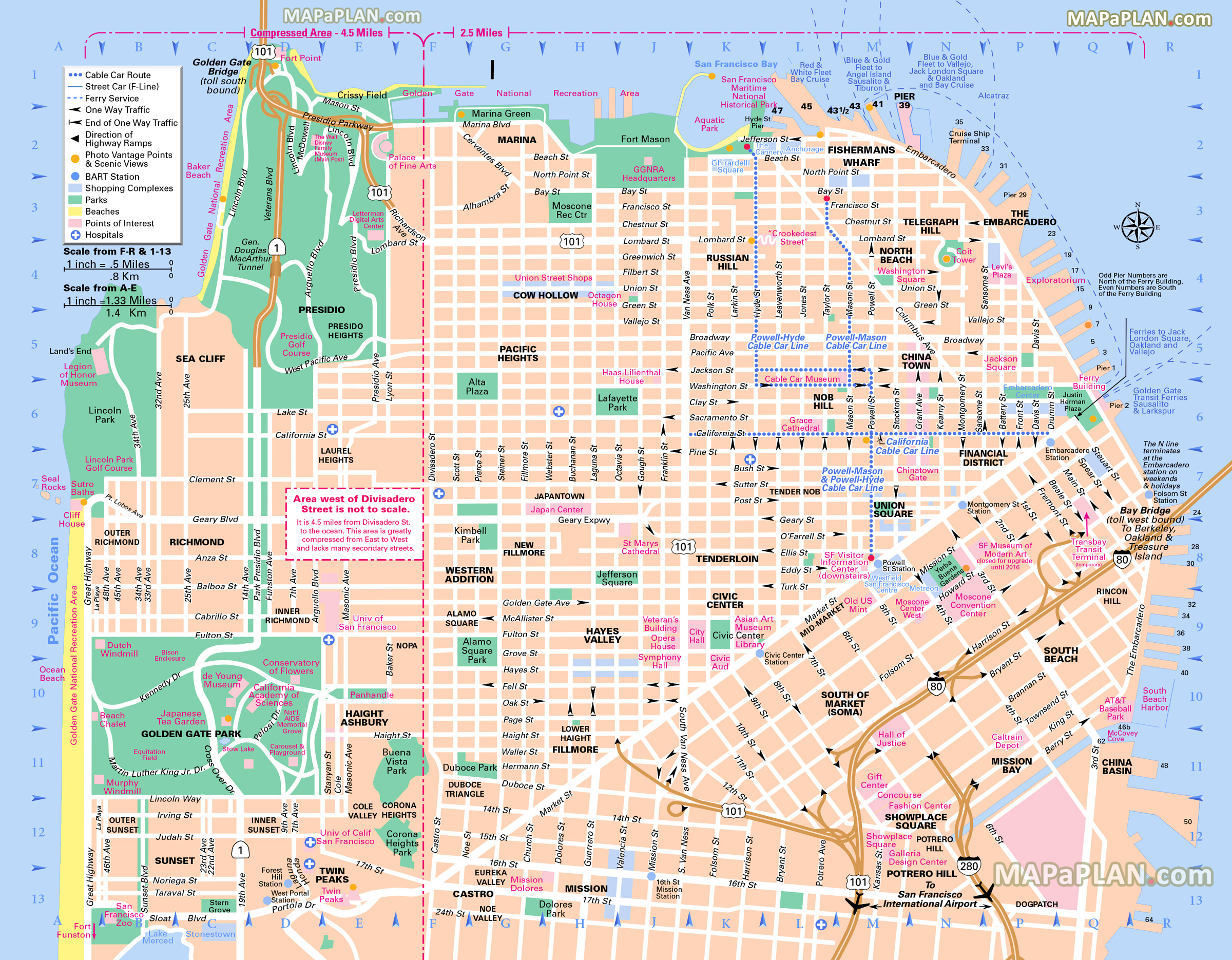San Francisco Maps - Top Tourist Attractions - Free, Printable City - Printable Street Maps Free