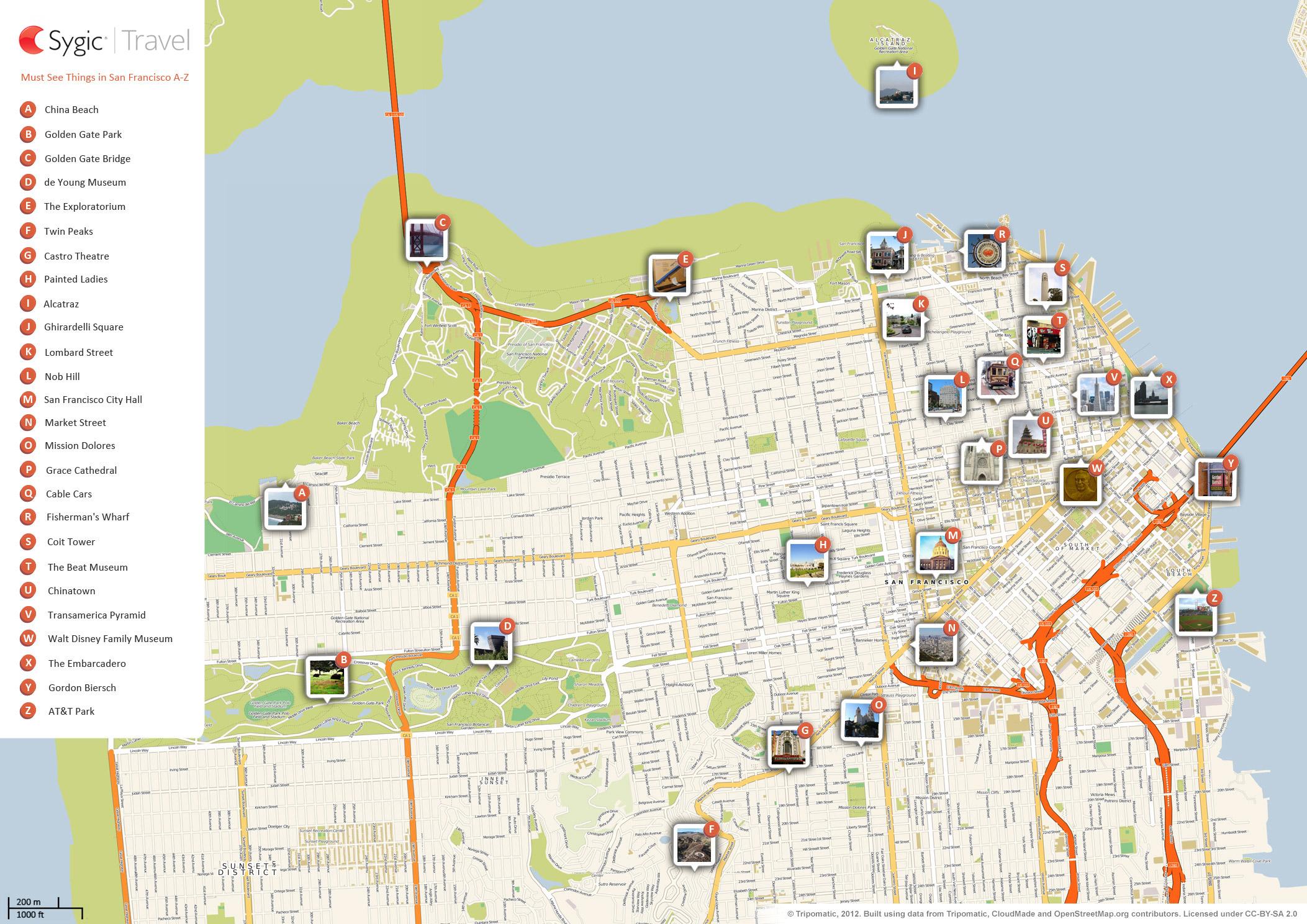 San Francisco Printable Tourist Map | Sygic Travel - Printable Map Of San Francisco Tourist Attractions
