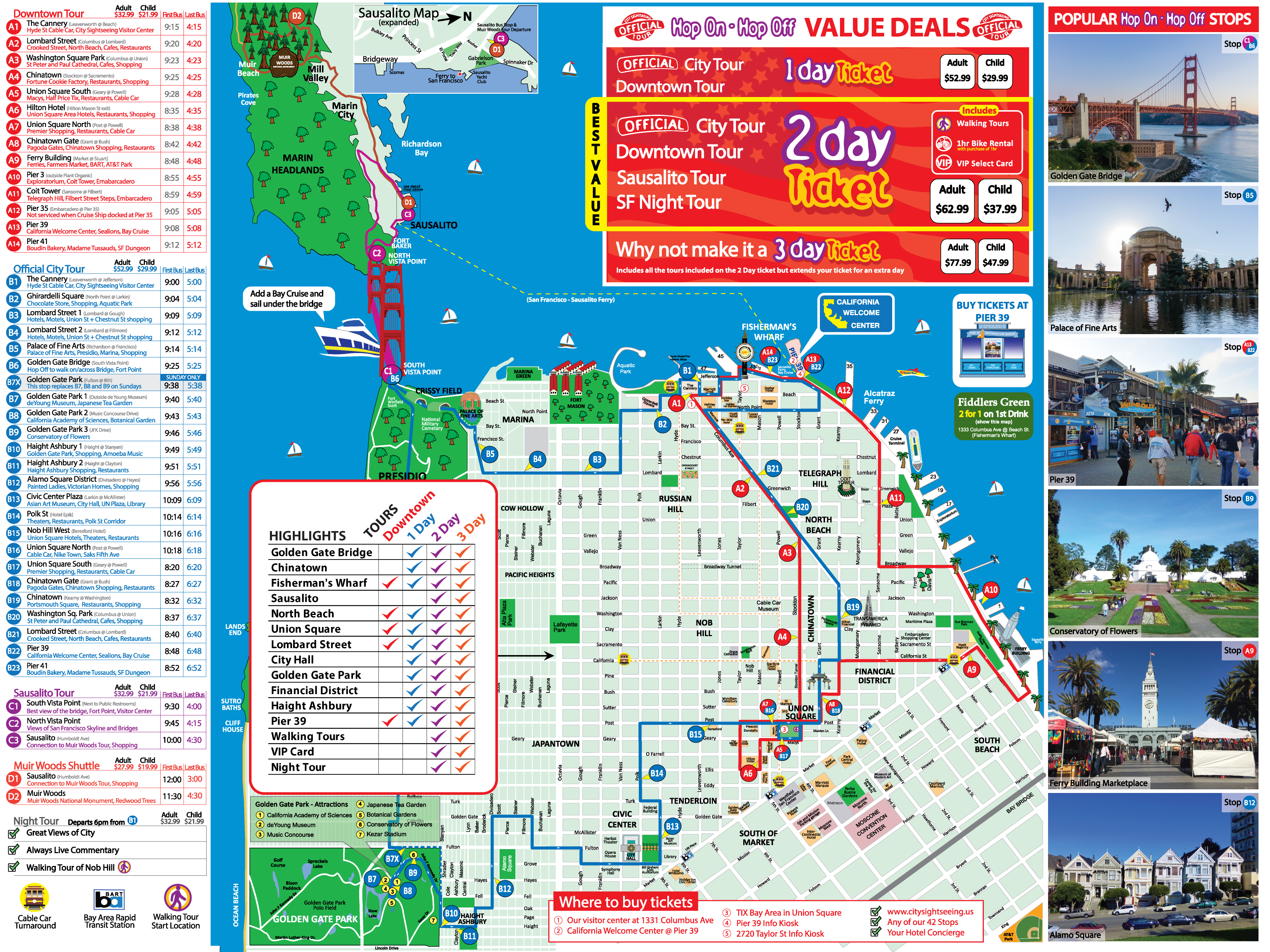 San Francisco Tour Map - Printable Map Of San Francisco Tourist Attractions