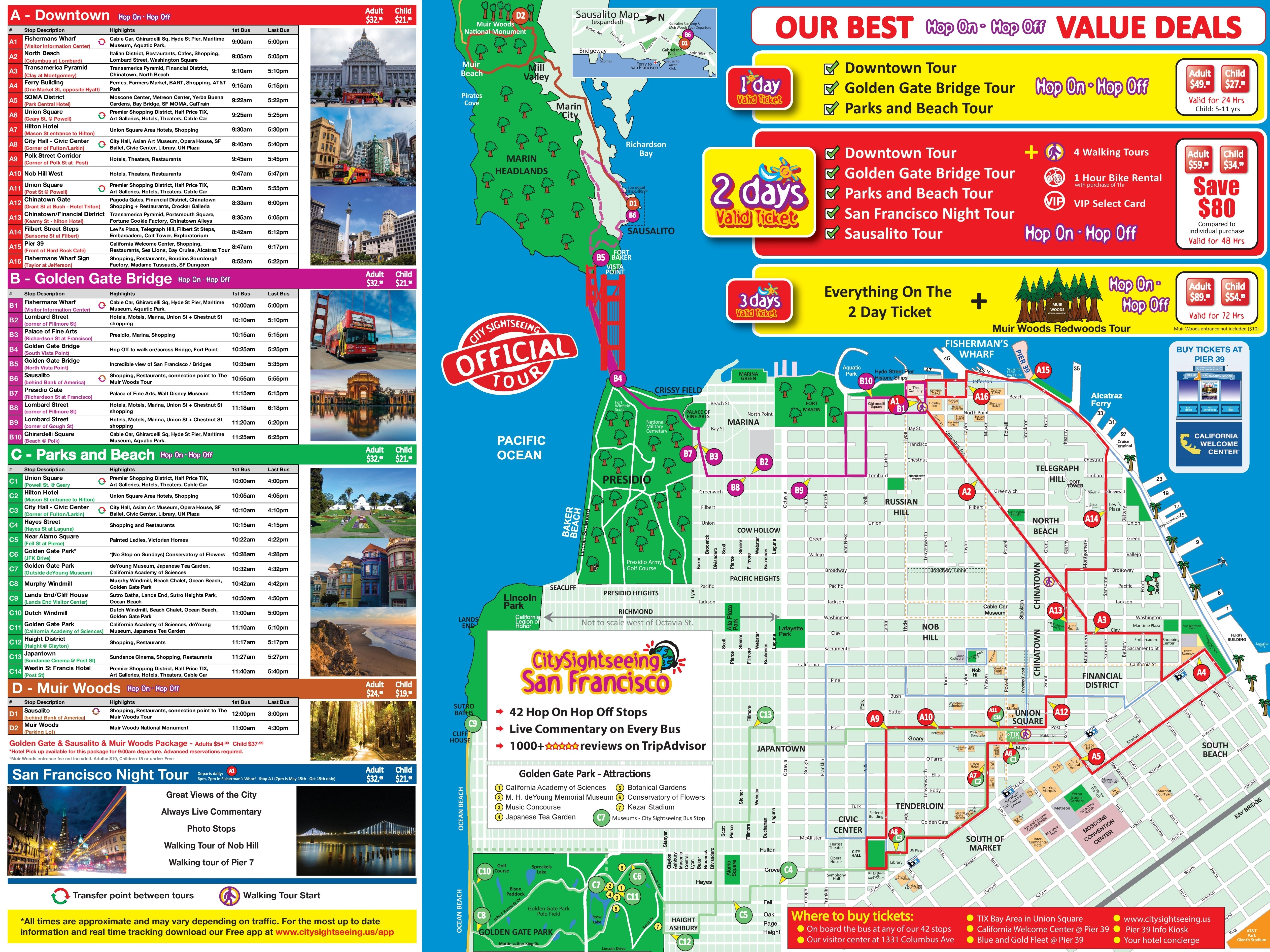 San Francisco Tourist Attractions Map San Francisco Tourist - Printable Map Of San Francisco Tourist Attractions