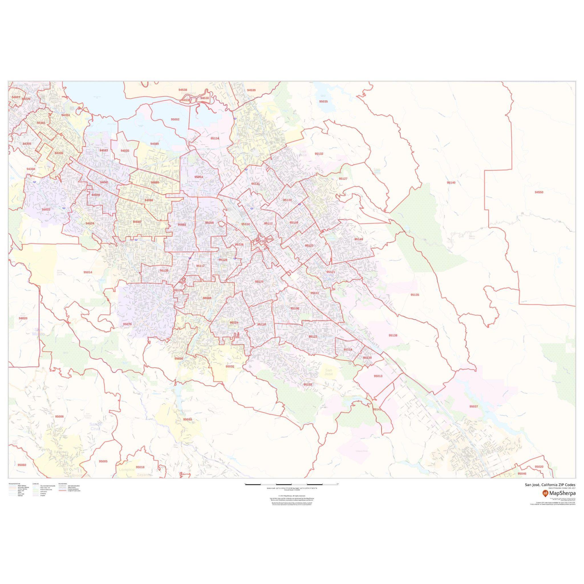 San Jose, California Zip Codes - The Map Shop - California Zip Code Map