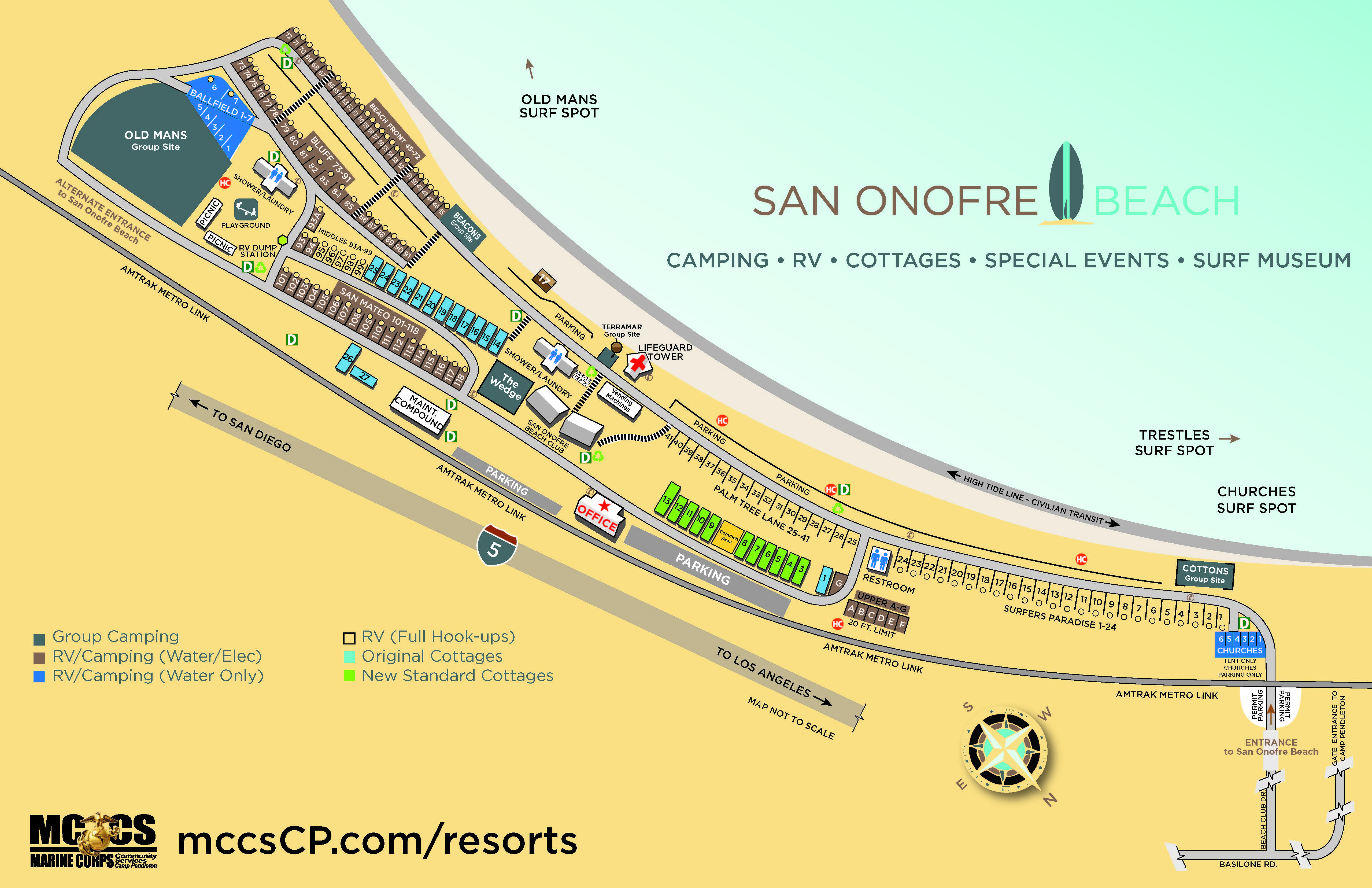 San Onofre Beach - Cottages — Mccs Camp Pendleton - Dod Lodging California Map