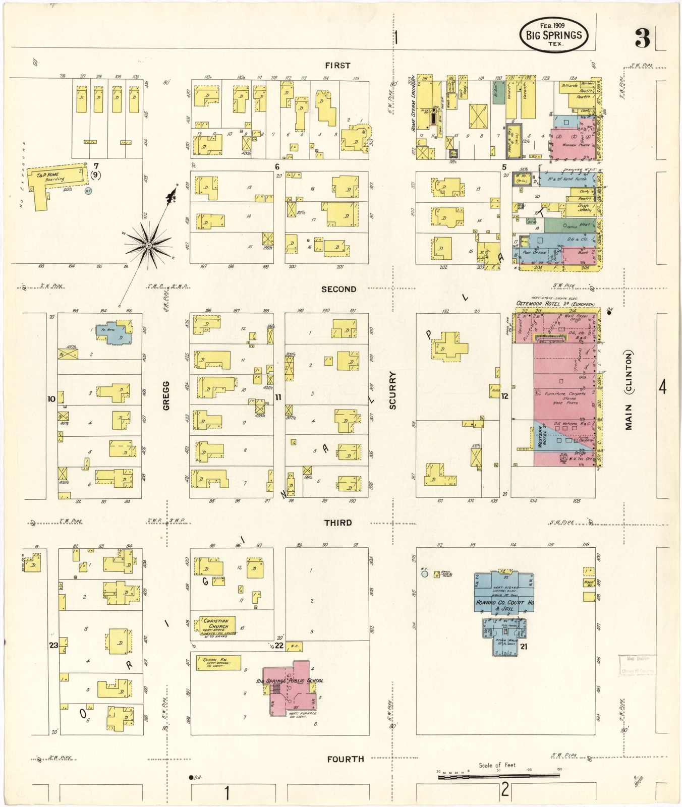 Sanborn Fire Insurance Map From Big Spring, Howard County, Texas - Howard County Texas Section Map
