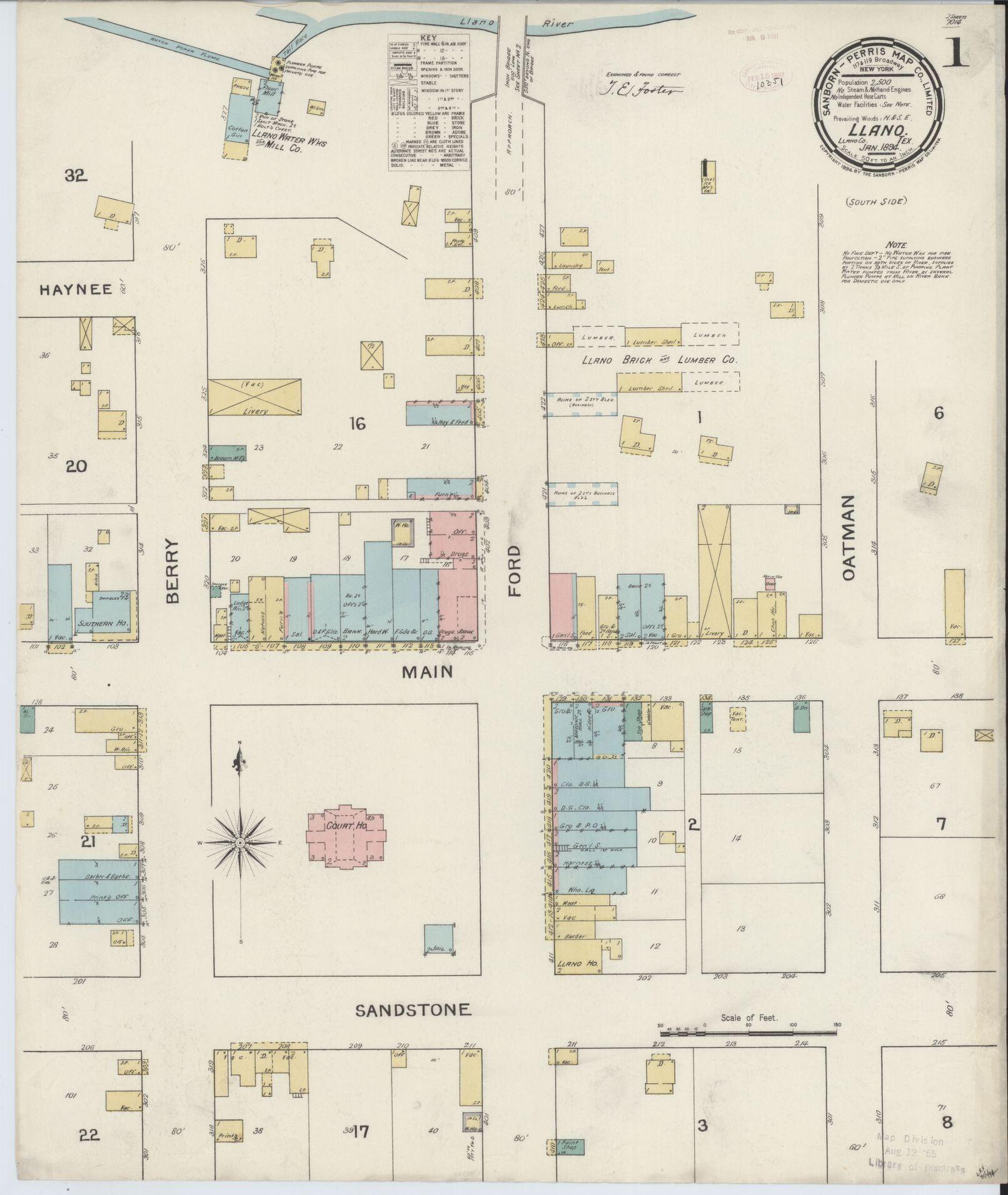 Sanborn Fire Insurance Map From Llano, Llano County, Texas - Map Insurance Texas