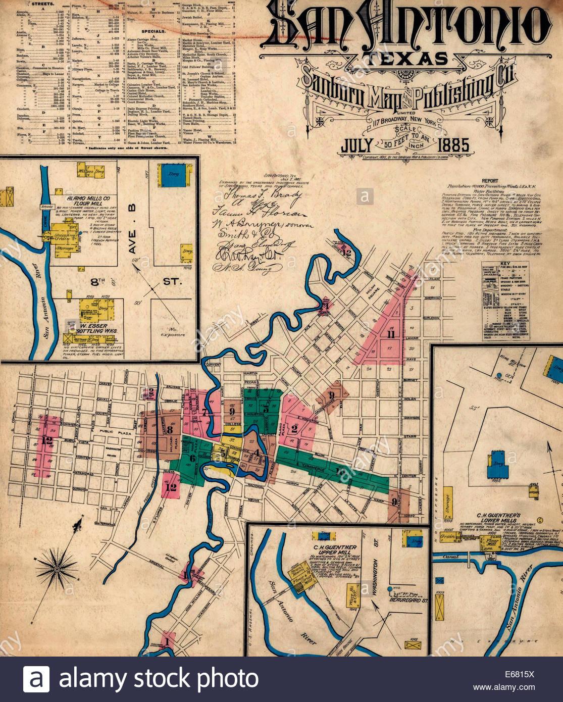 Sanborn Fire Insurance Map From San Antonio, Bexar County, Texas - Map Insurance Texas